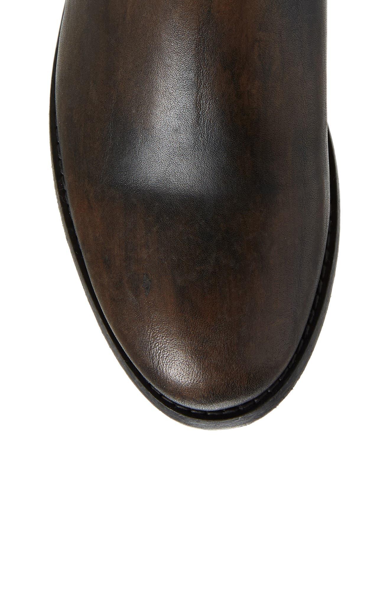 Melissa Stud Knee High Boot,                             Alternate thumbnail 5, color,                             BLACK LEATHER