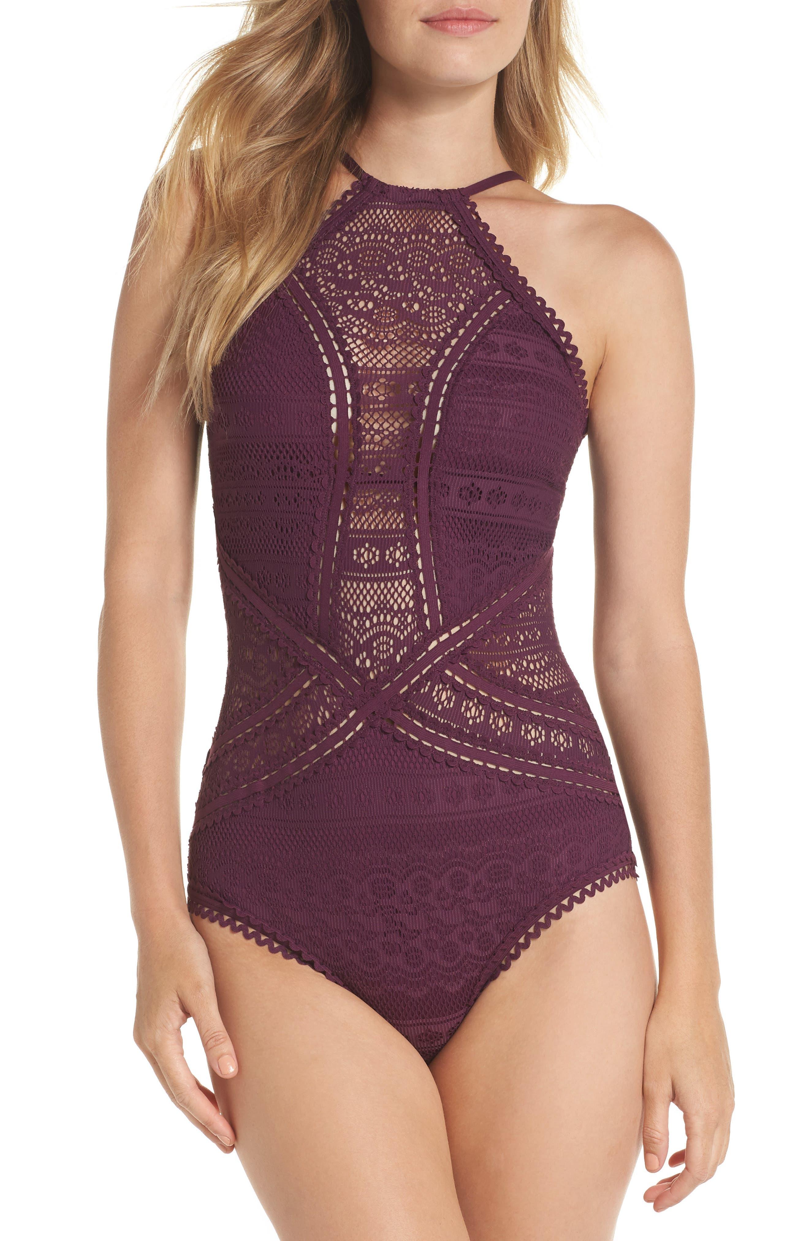 Vintage Bathing Suits | Retro Swimwear | Vintage Swimsuits Womens Becca Prairie Rose Crochet One-Piece Swimsuit Size X-Large - Burgundy $124.00 AT vintagedancer.com