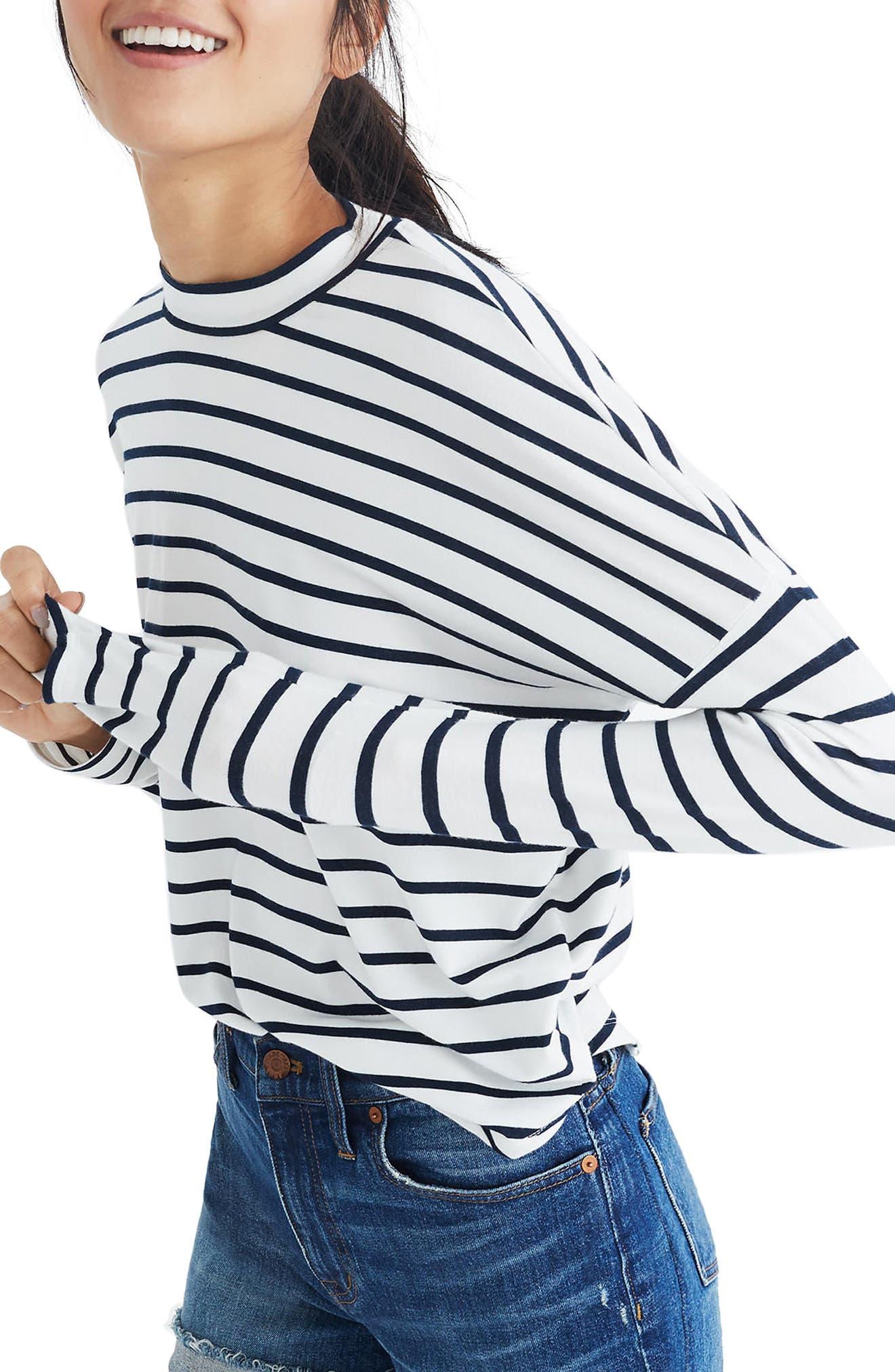 Stripe Long Sleeve Mock Neck Top,                             Main thumbnail 1, color,                             100