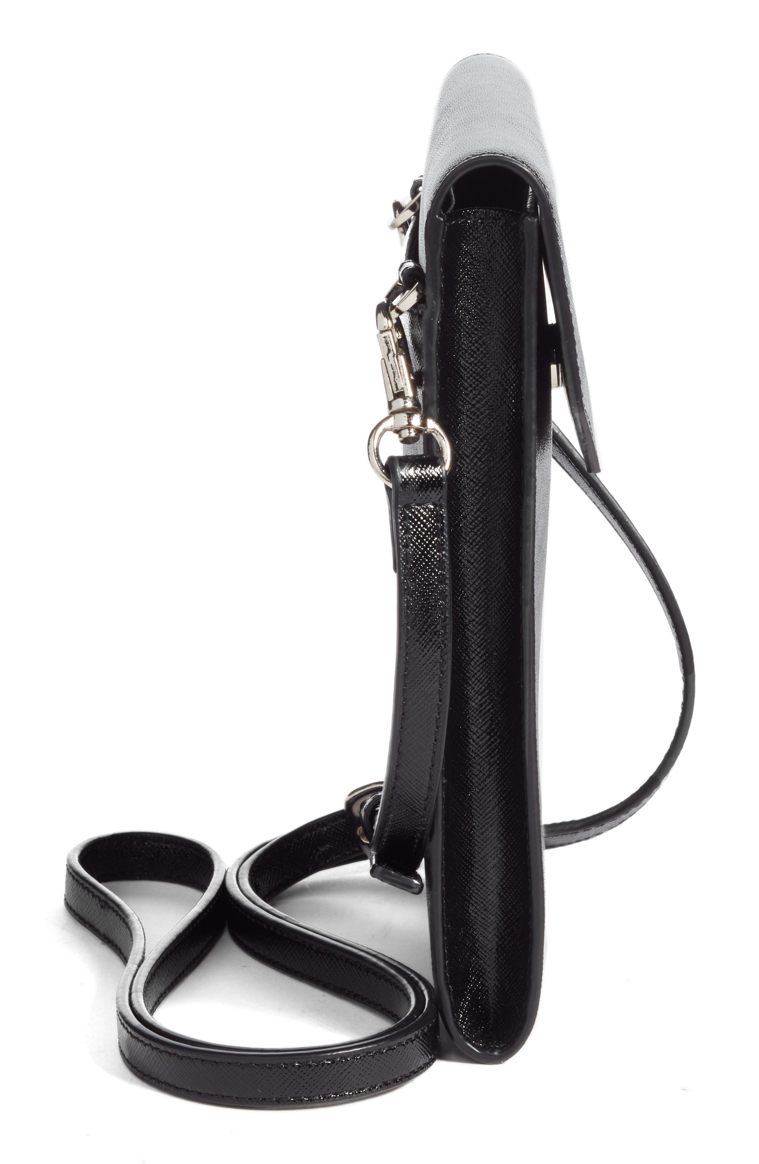 Leather Phone Crossbody Bag,                             Alternate thumbnail 5, color,                             BLACK