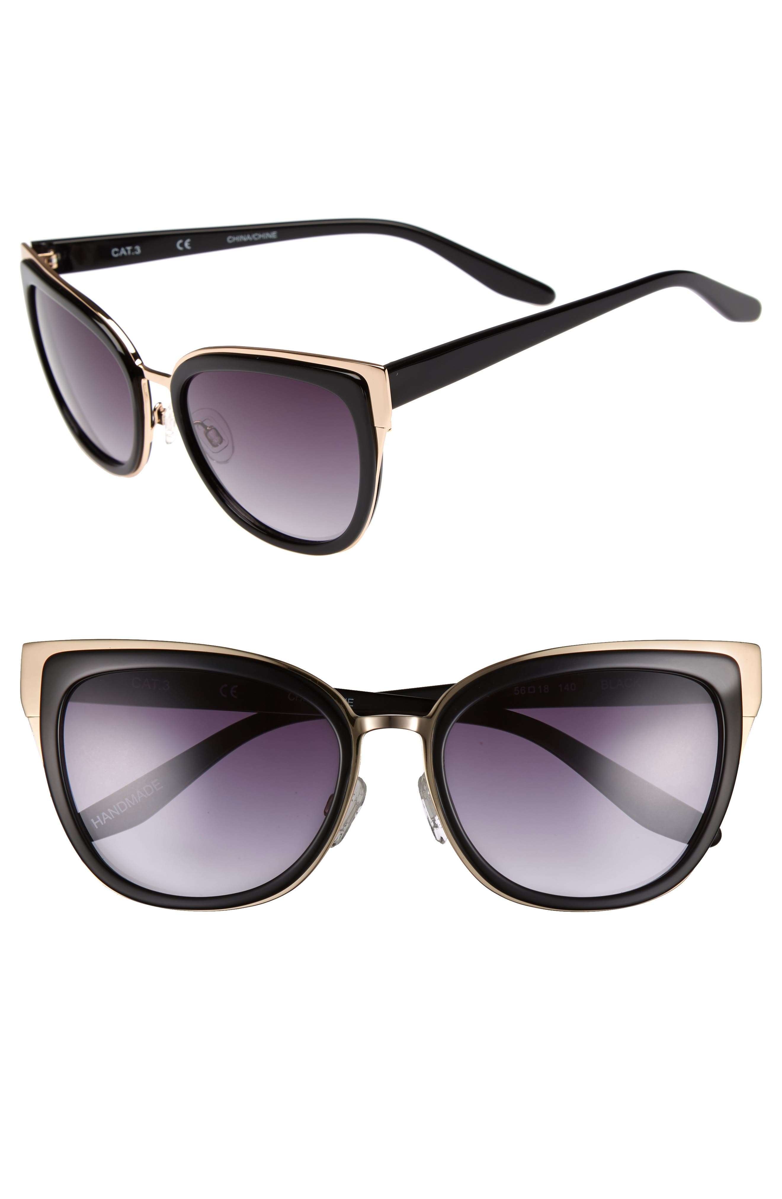 Lillian 56mm Sunglasses,                             Main thumbnail 1, color,                             001