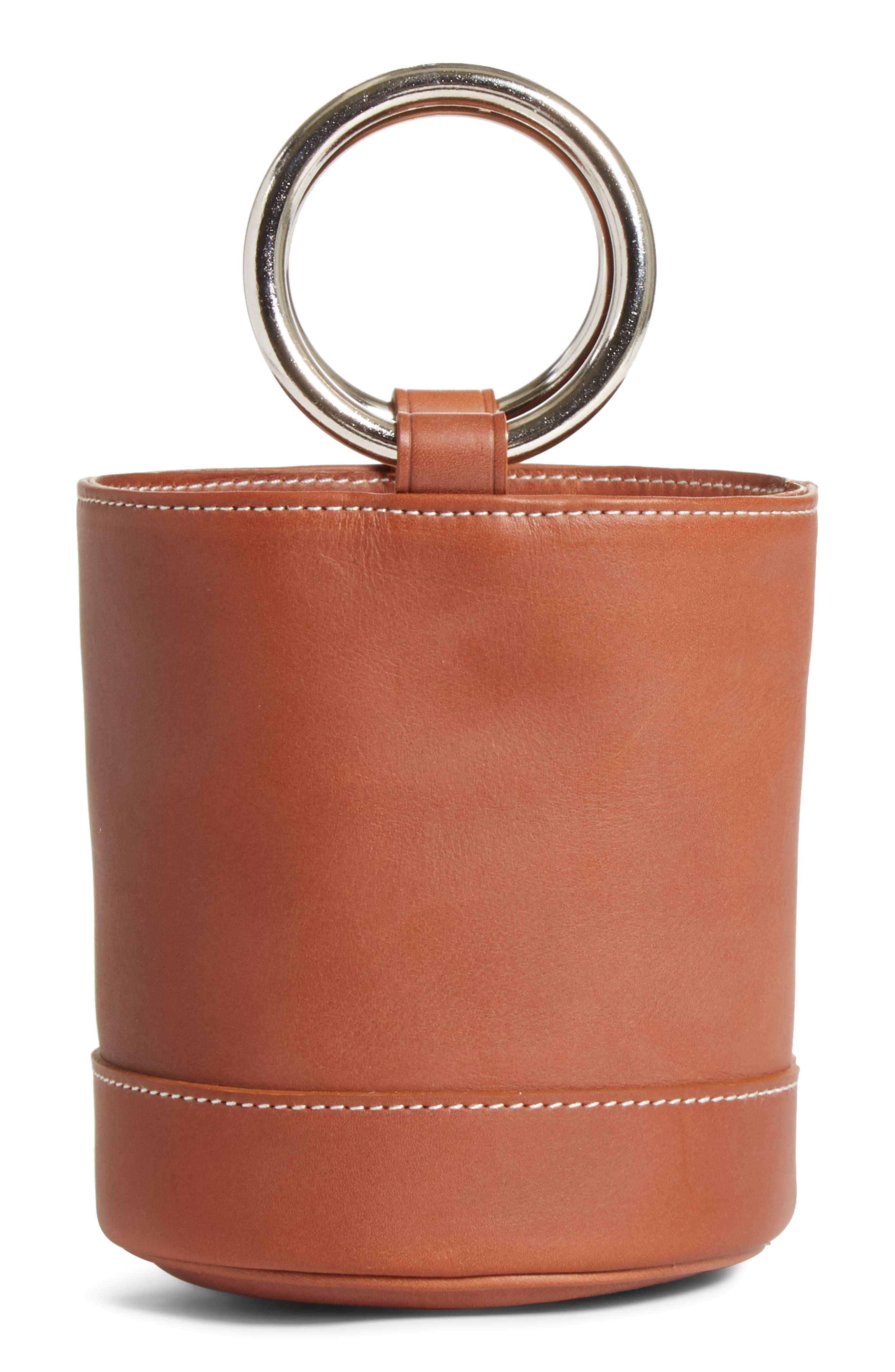 Bonsai 15 Calfskin Leather Bucket Bag,                             Alternate thumbnail 3, color,                             DARK TAN