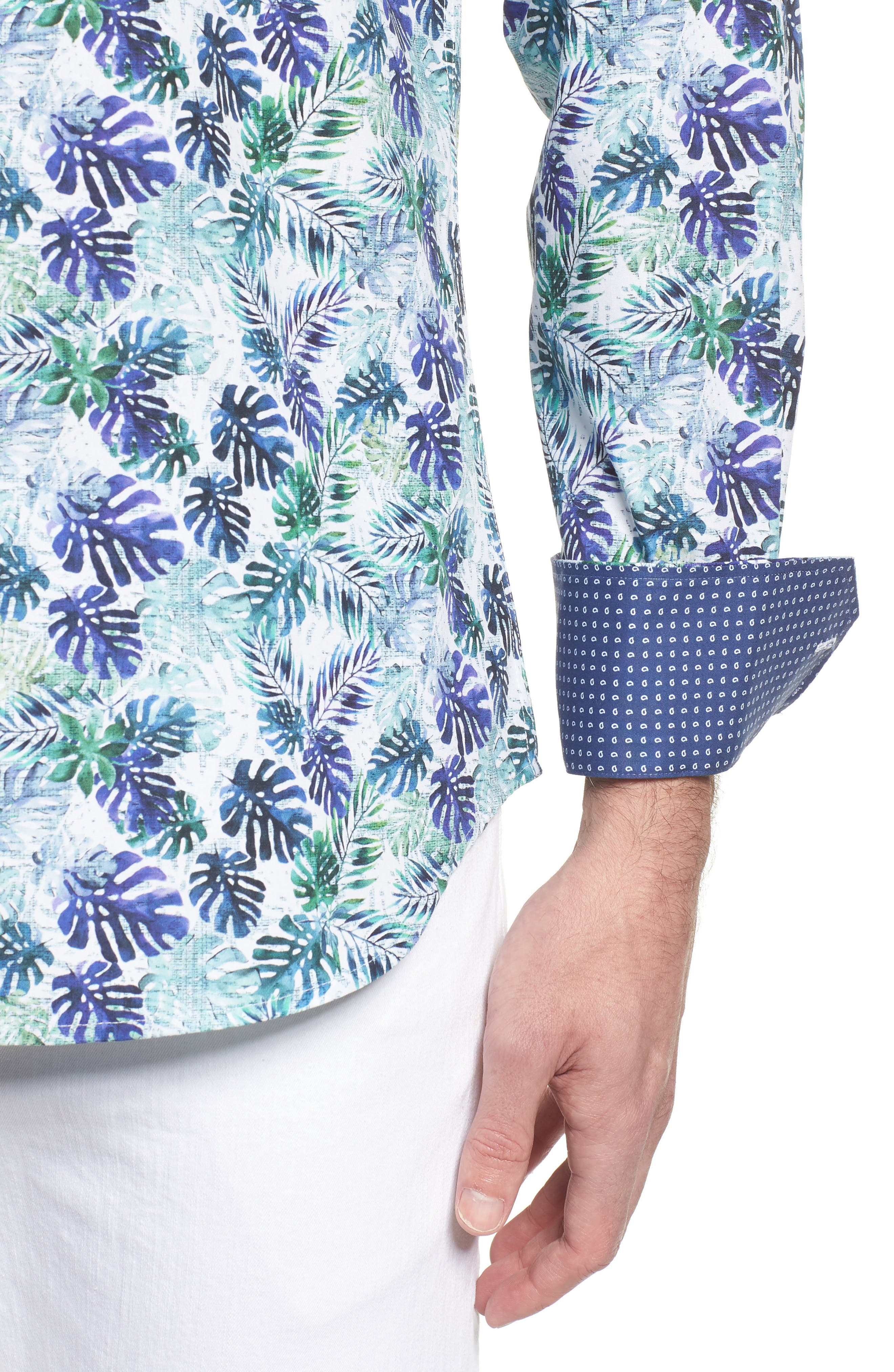 Shaped Fit Blue Leaves Sport Shirt,                             Alternate thumbnail 4, color,                             504