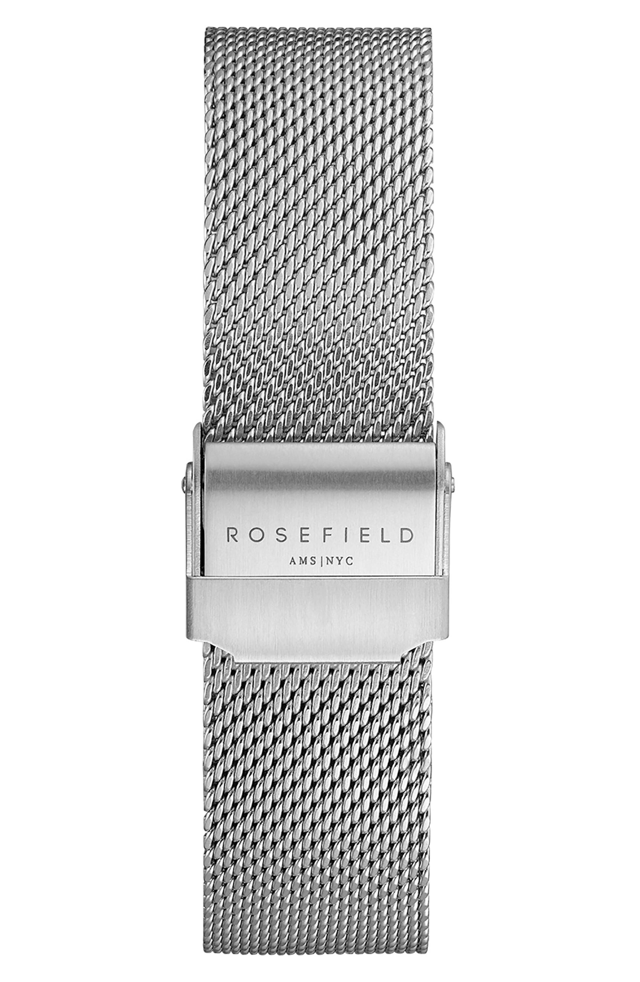 Tribeca Mesh Strap Watch, 33mm,                             Alternate thumbnail 2, color,                             SILVER/ WHITE/ SILVER