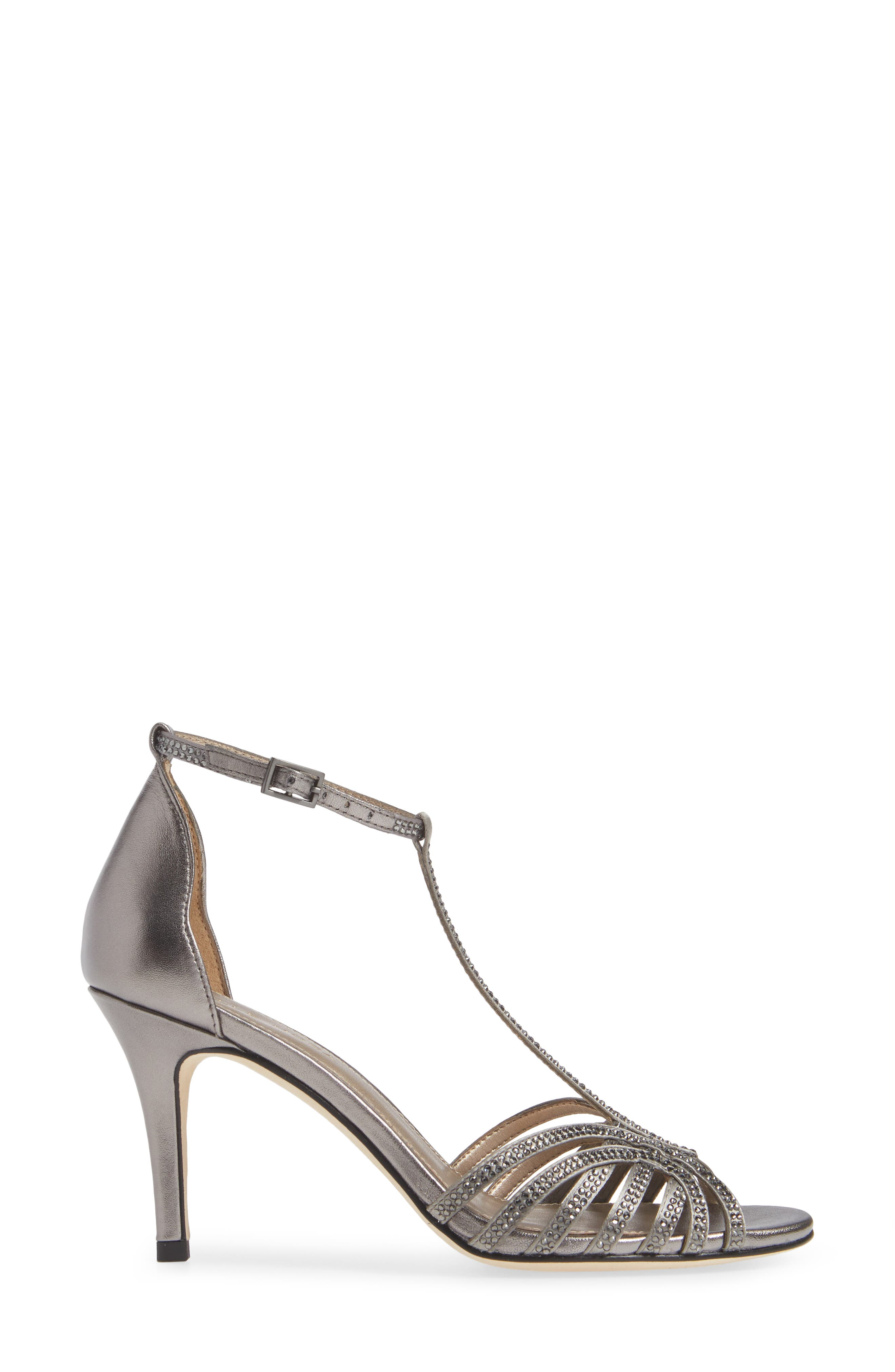 Rochell Crystal Embellished Sandal,                             Alternate thumbnail 3, color,                             PEWTER FABRIC