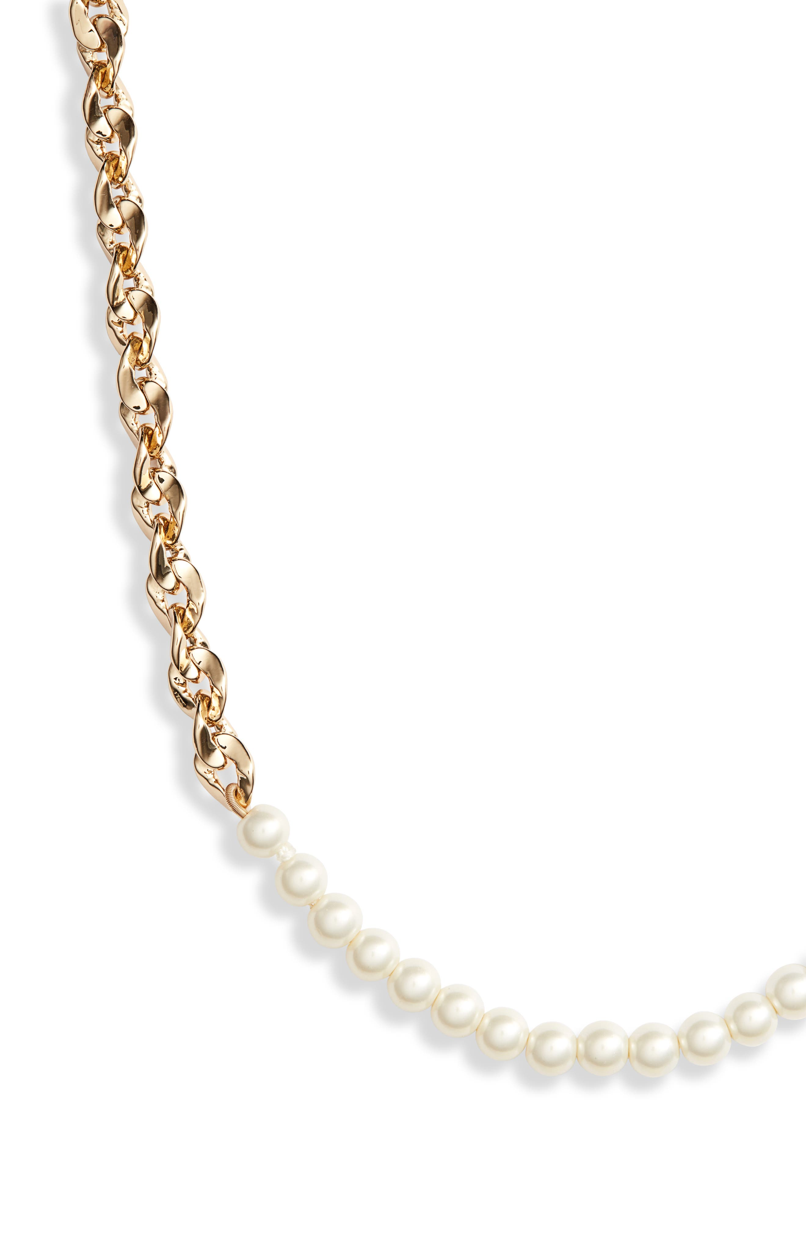 Imitation Pearl & Chain Necklace,                             Alternate thumbnail 2, color,                             GOLD/ PEARL