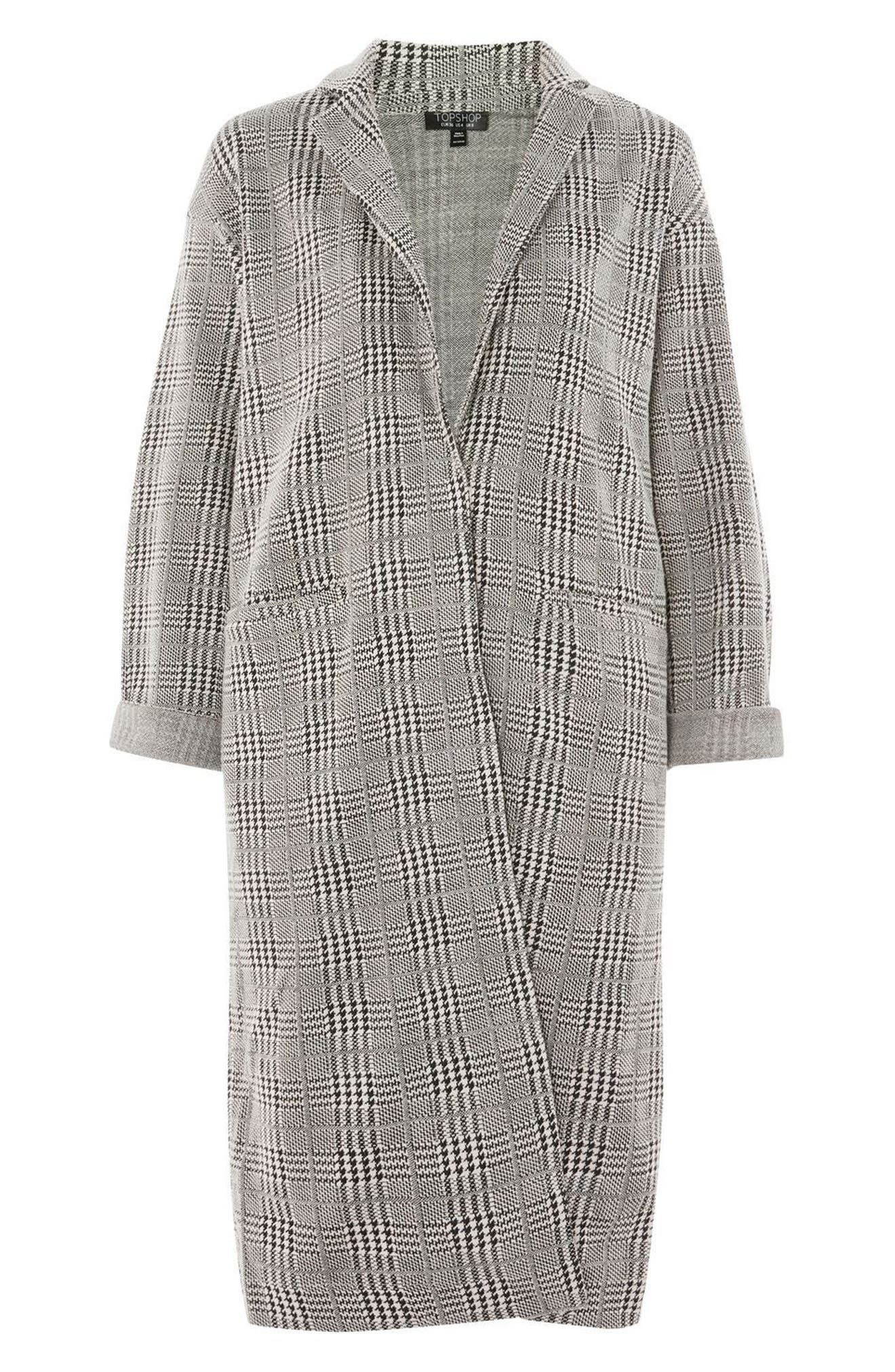 Check Jersey Duster Coat,                             Alternate thumbnail 3, color,