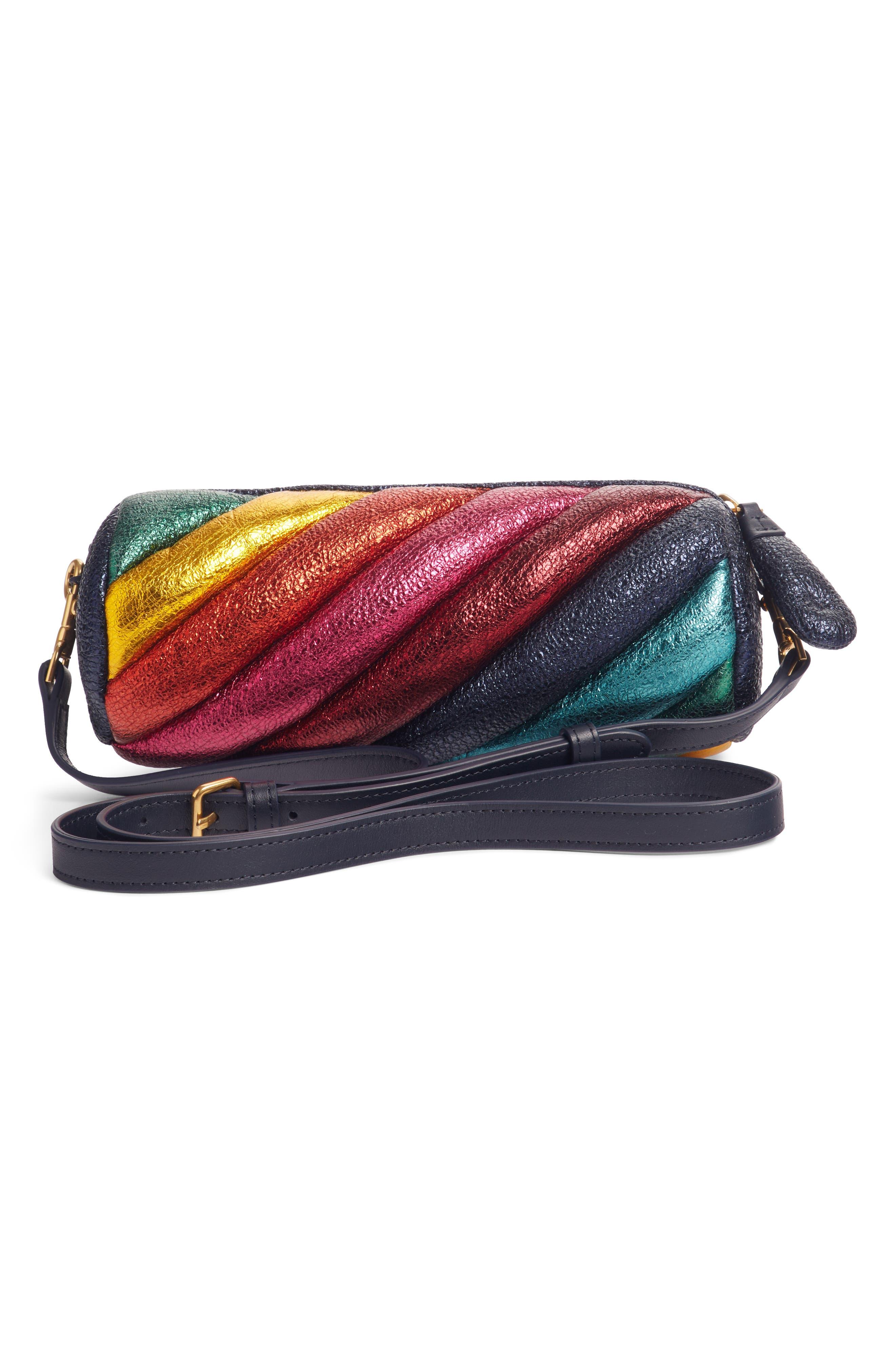 Marshmallow Twist Metallic Leather Crossbody Bag,                             Alternate thumbnail 2, color,                             BLACK MULTI