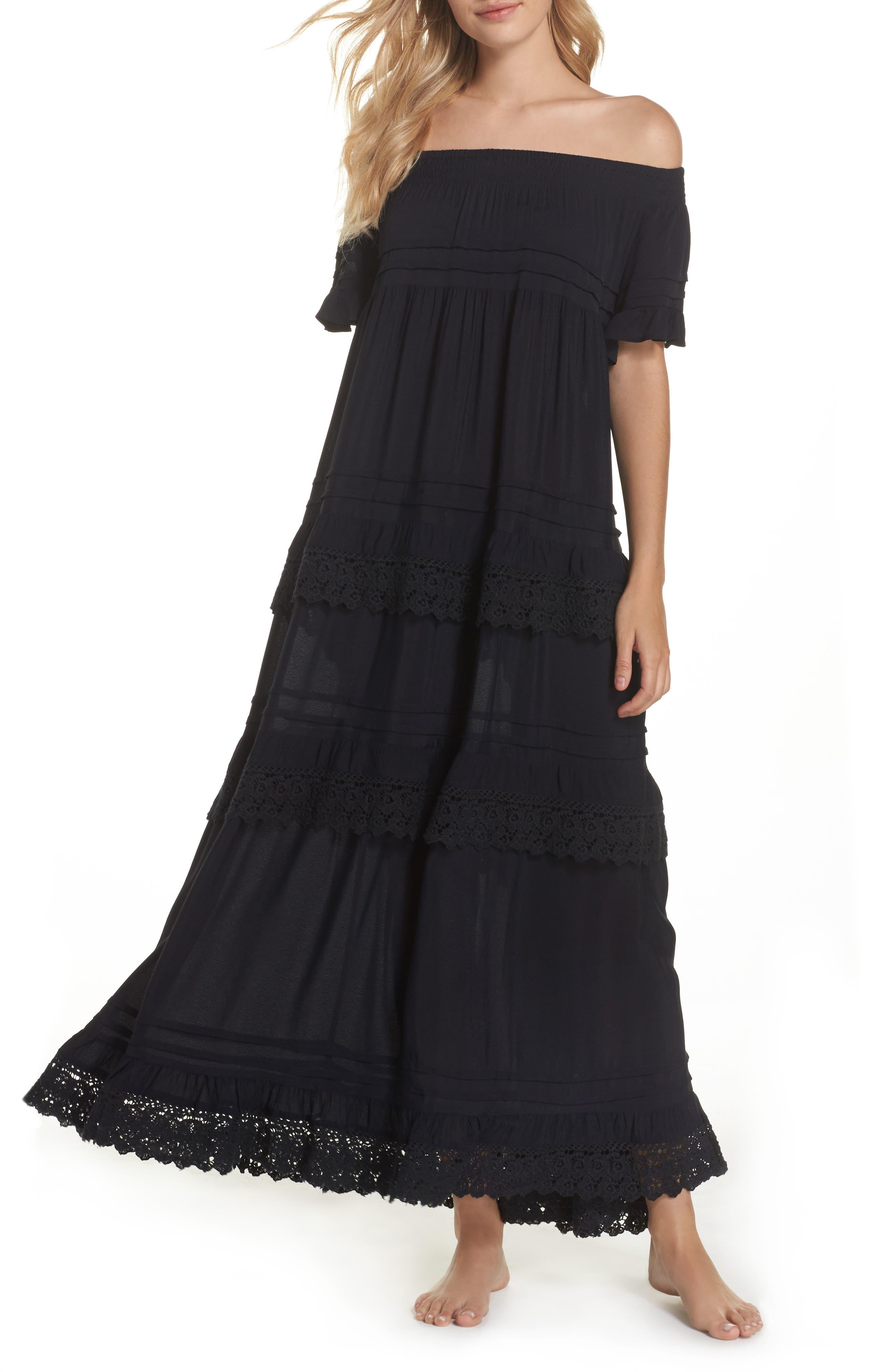 Esmerelda Off the Shoulder Cover-Up Maxi Dress,                             Main thumbnail 1, color,