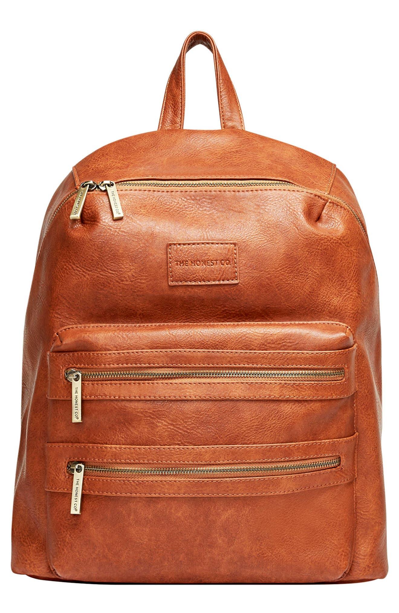 'City' Faux Leather Diaper Backpack,                         Main,                         color, COGNAC