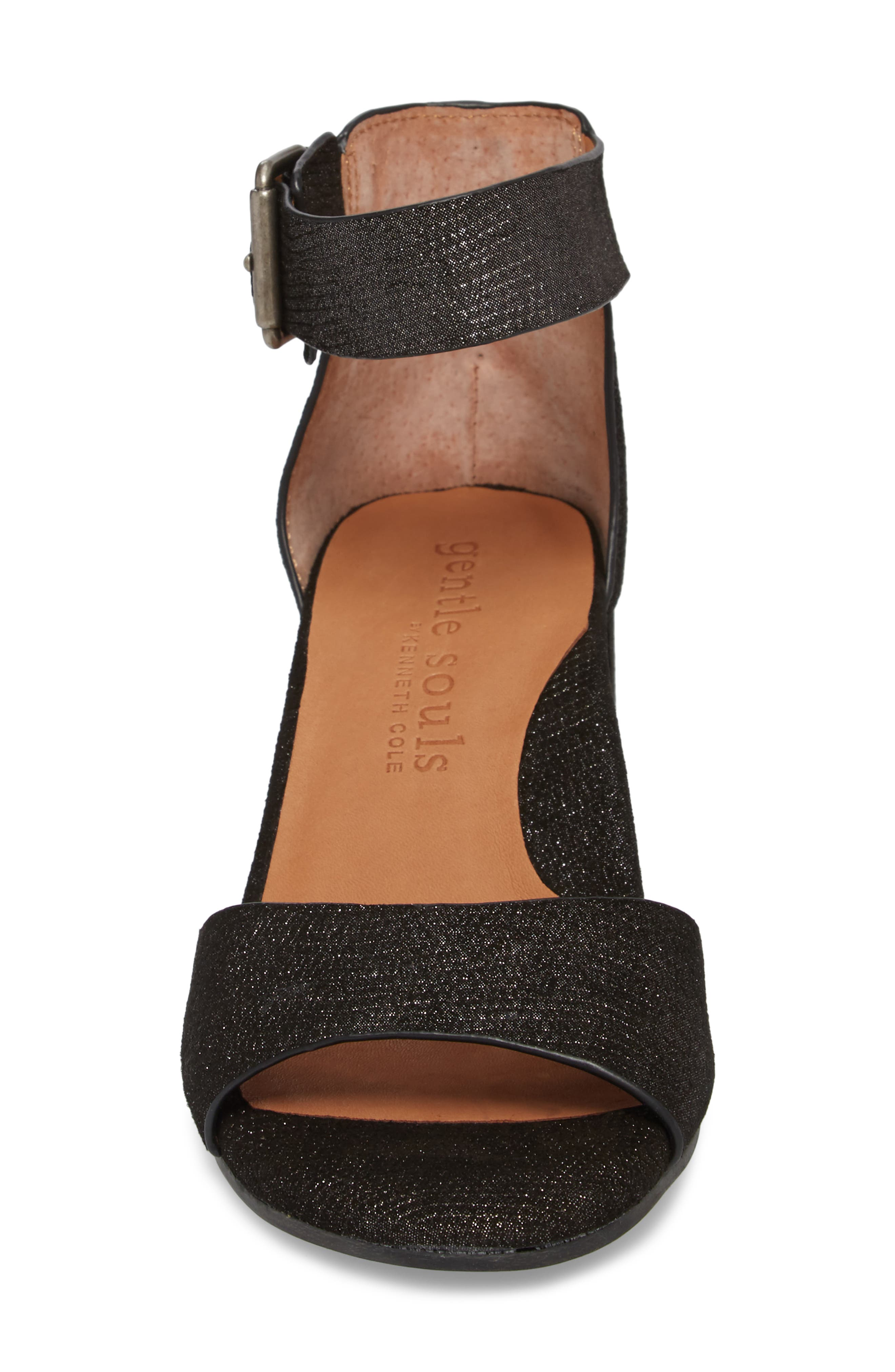 by Kenneth Cole Christa Block Heel Sandal,                             Alternate thumbnail 4, color,                             BLACK EMBOSSED LEATHER