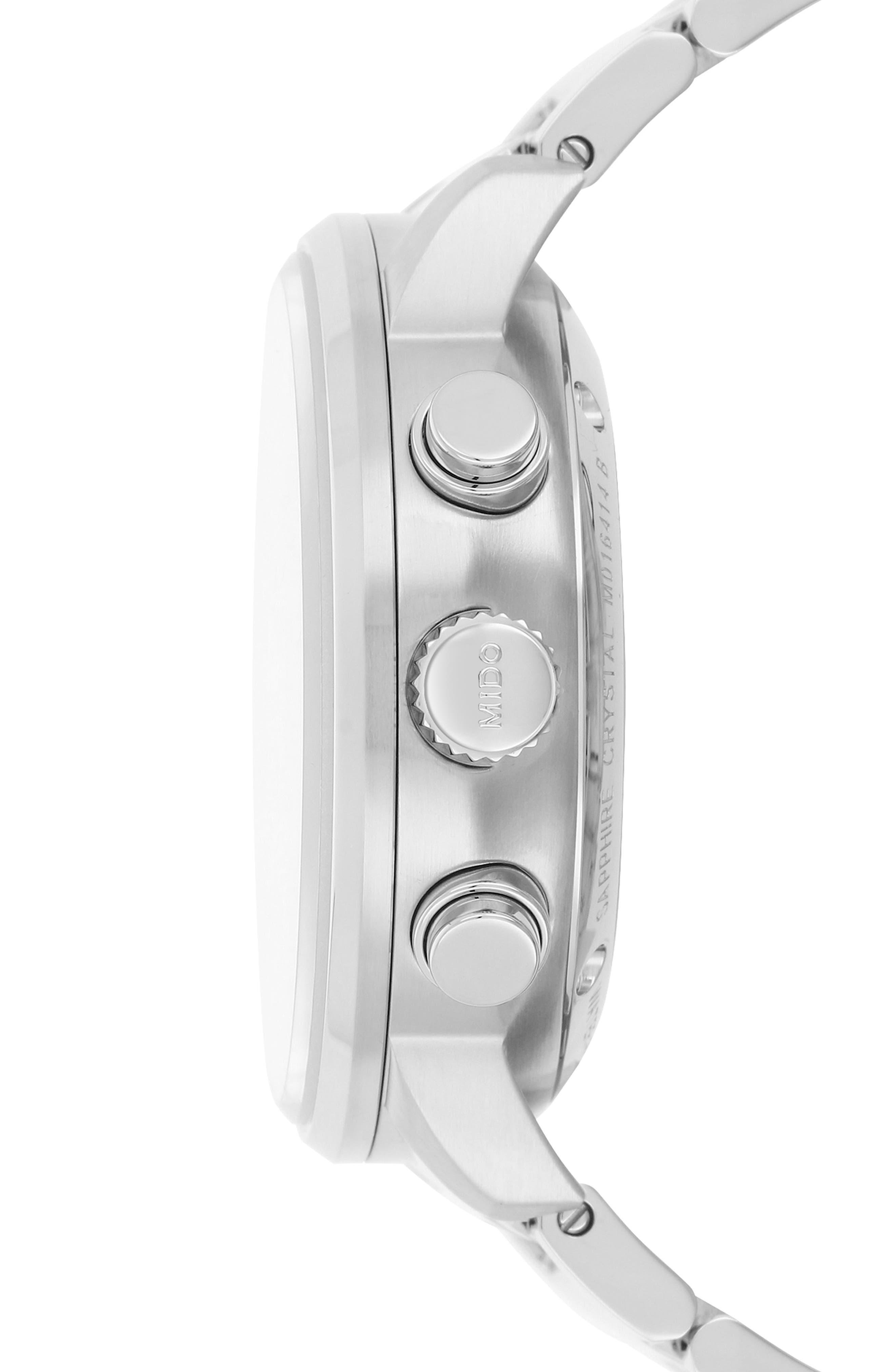 Commander Chronometer Bracelet Watch, 42mm,                             Alternate thumbnail 3, color,                             SILVER/ BLUE/ SILVER