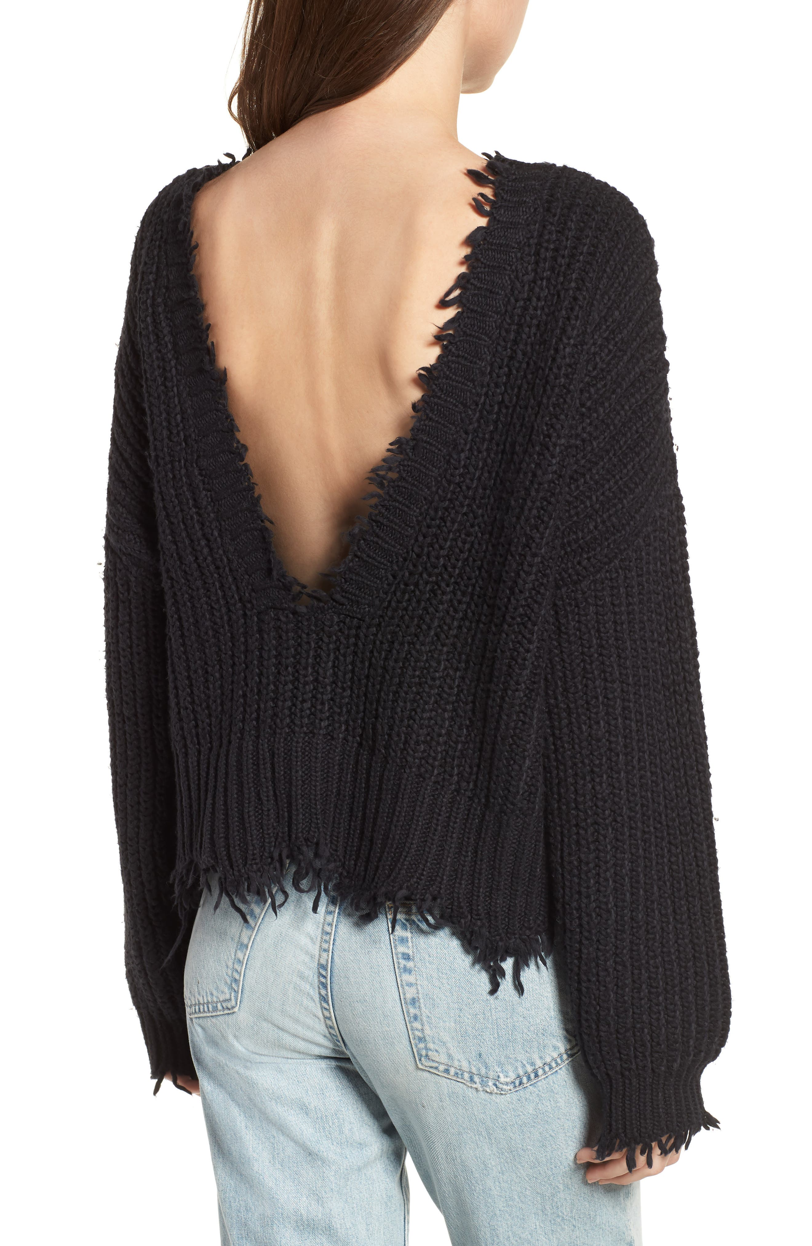 Palmetto Frayed Sweater,                             Alternate thumbnail 2, color,                             BLACK