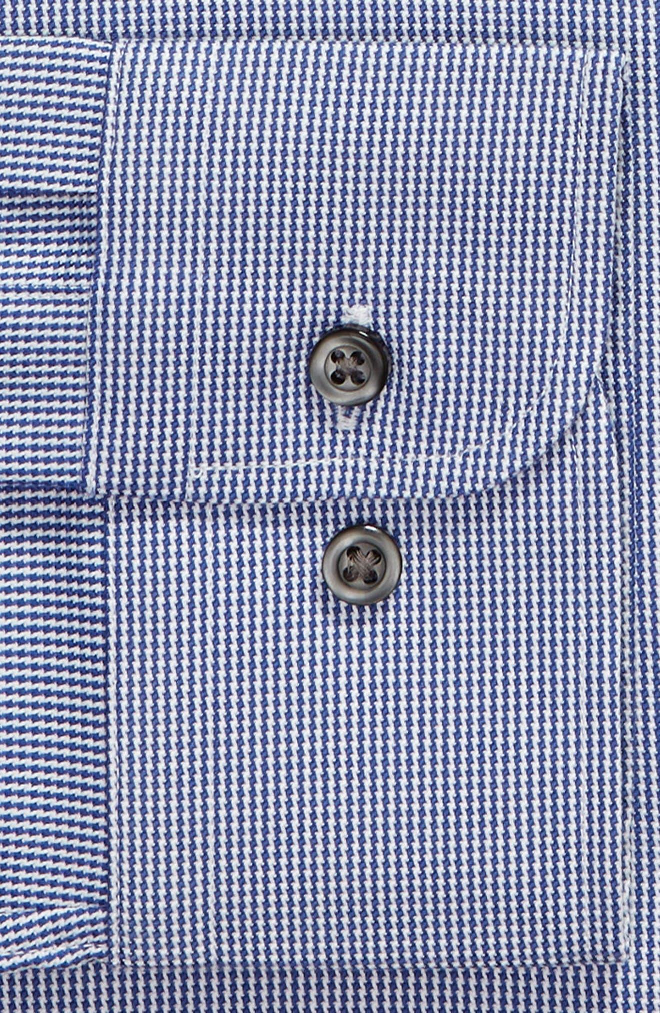 Trim Fit Non-Iron Solid Dress Shirt,                             Alternate thumbnail 6, color,                             NAVY DRESS