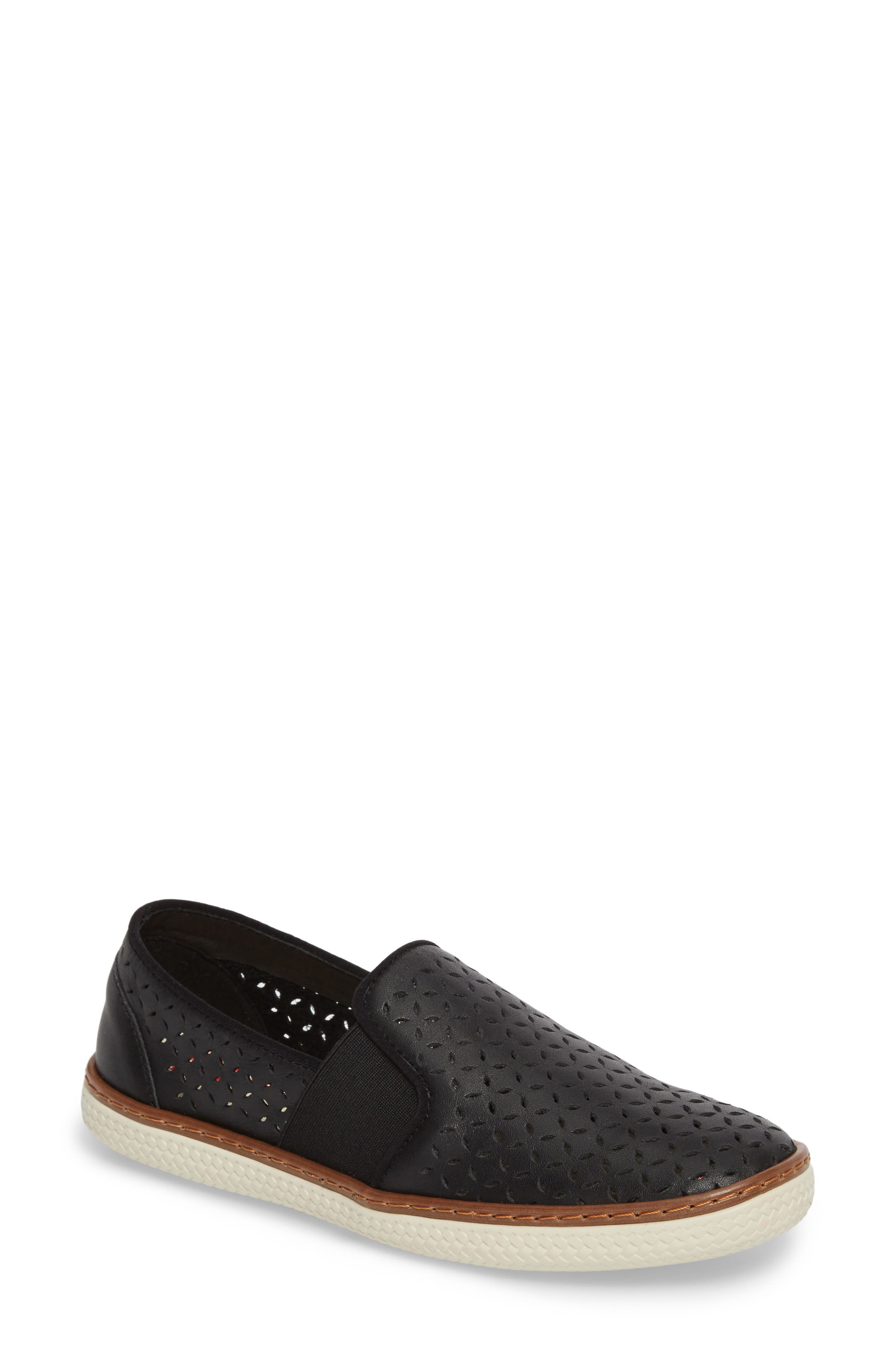 Jasper Perforated Loafer Flat,                             Main thumbnail 1, color,                             001