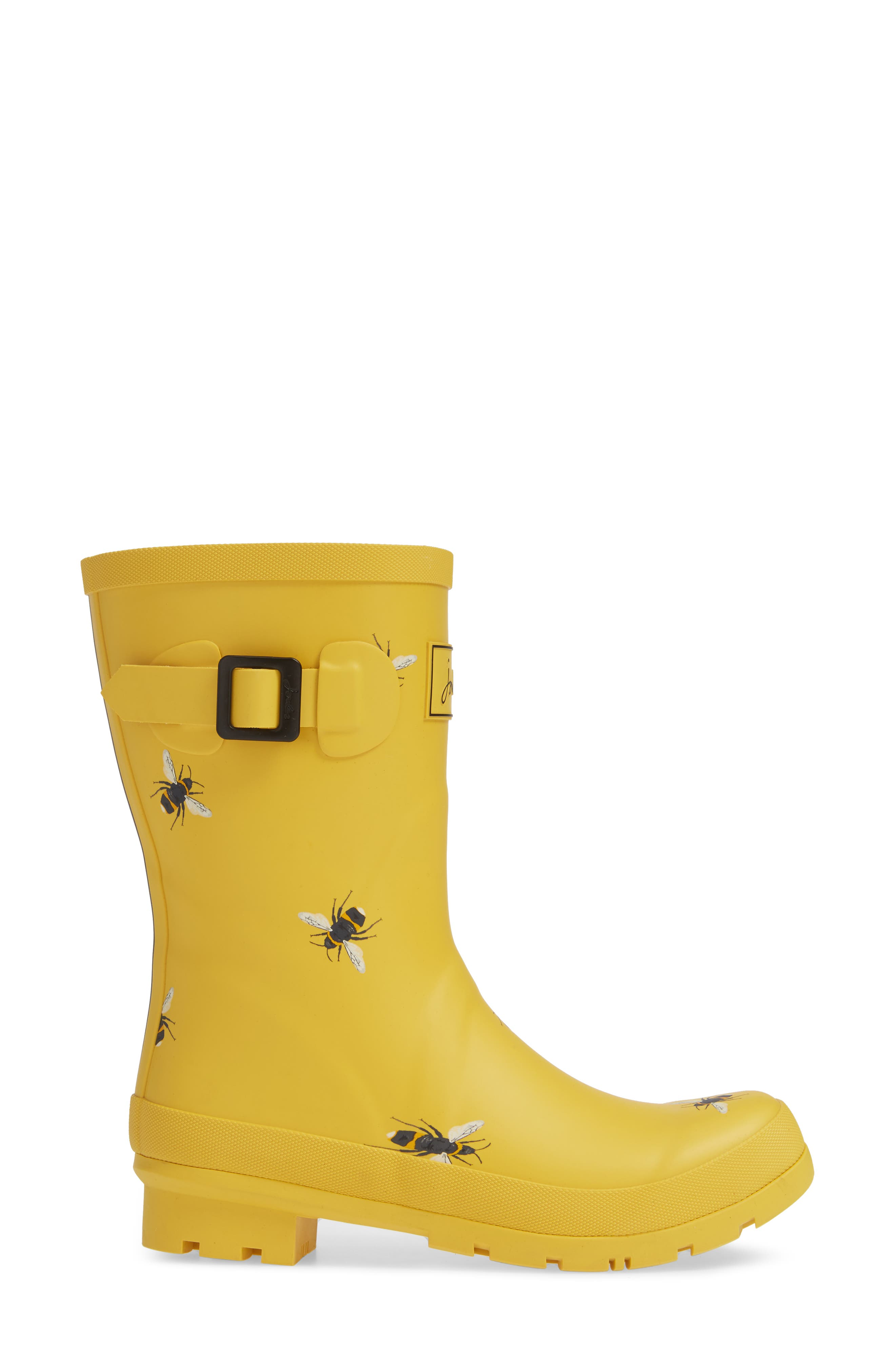 Print Molly Welly Rain Boot,                             Alternate thumbnail 3, color,                             GOLD BOTANICAL BEES
