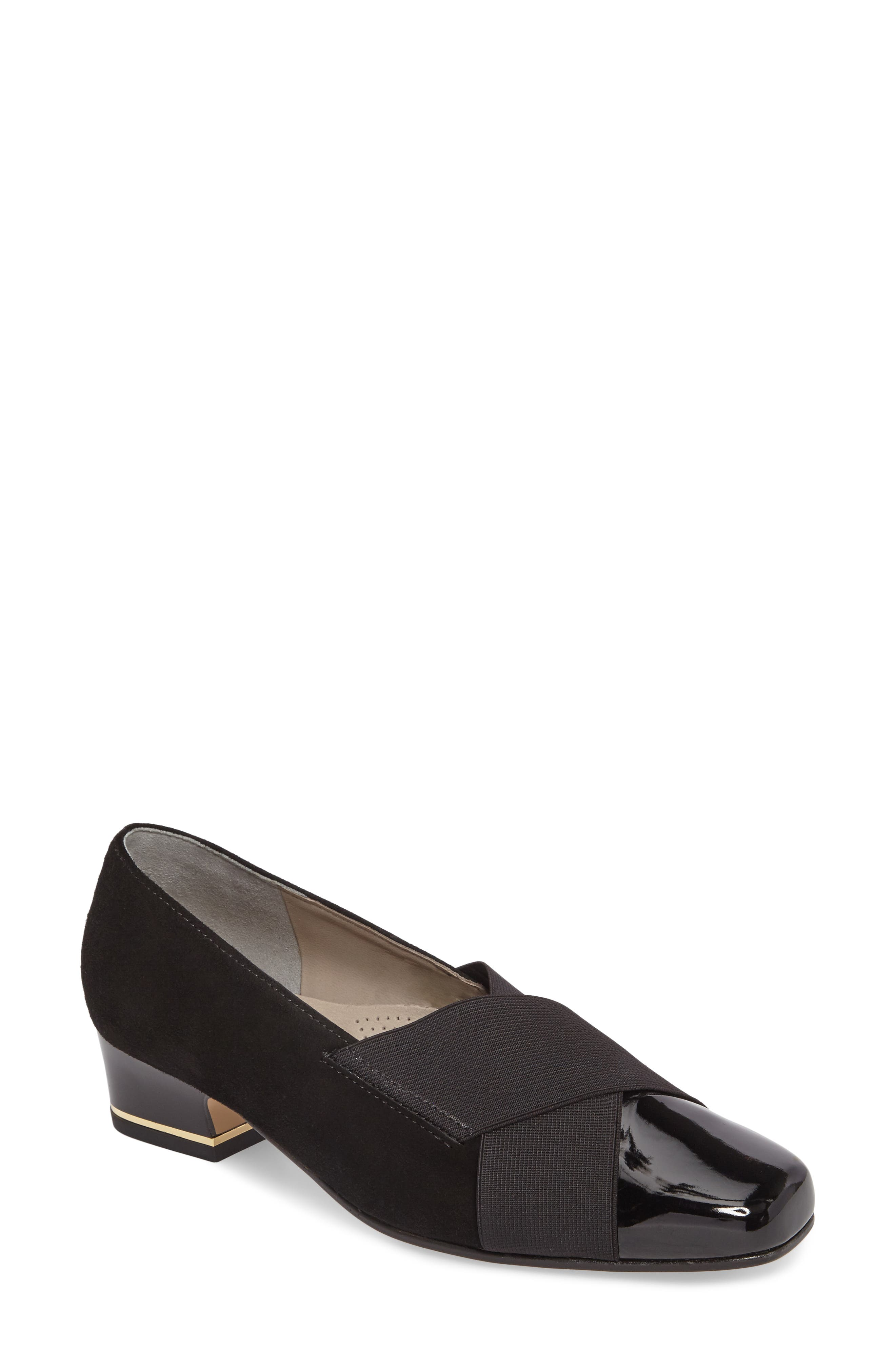 Gina Loafer Pump,                             Main thumbnail 1, color,                             BLACK LEATHER