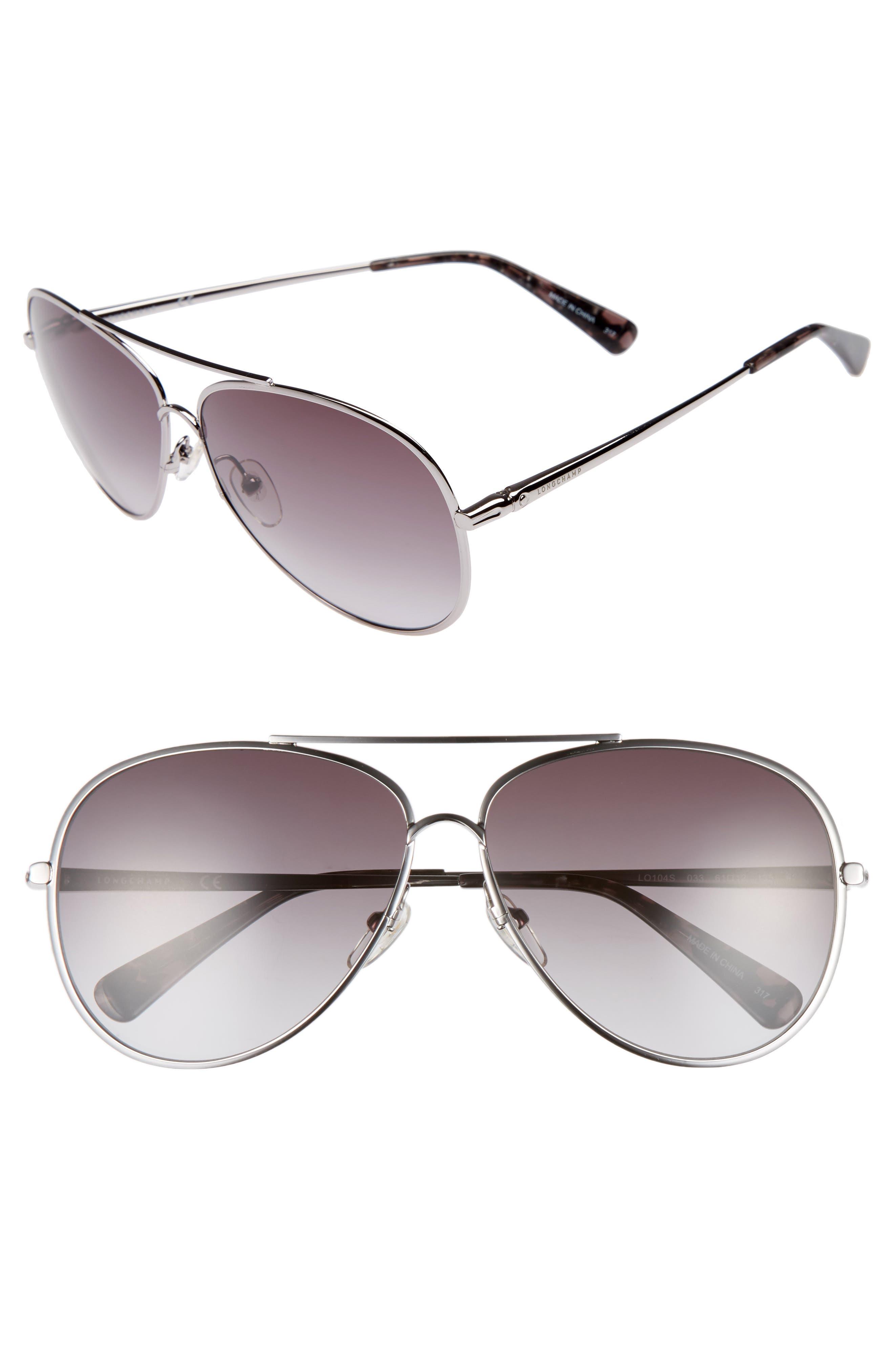 61mm Gradient Lens Aviator Sunglasses,                         Main,                         color, 033