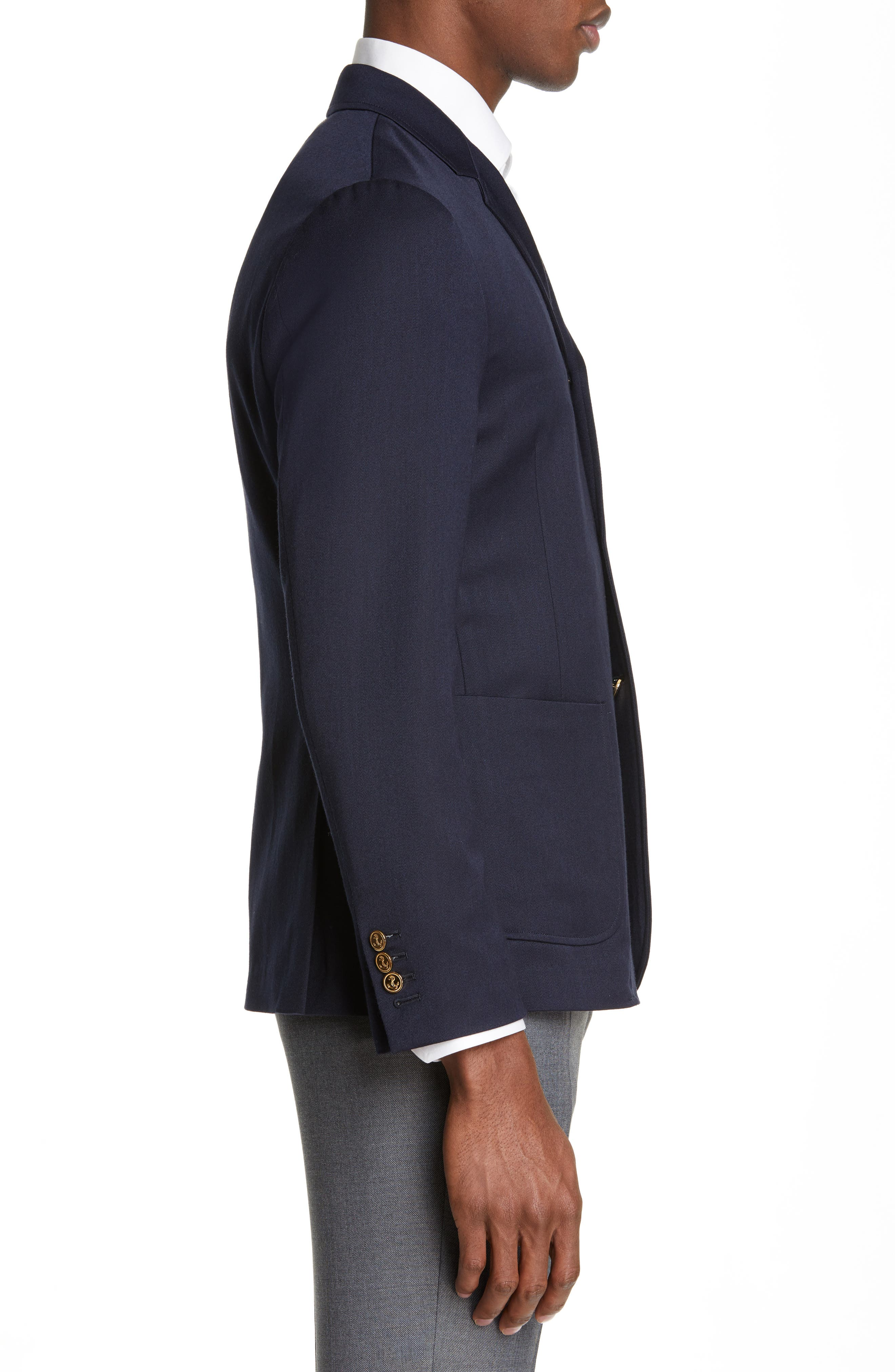 Unconstructed Wool Blend Sport Coat,                             Alternate thumbnail 3, color,                             NAVY