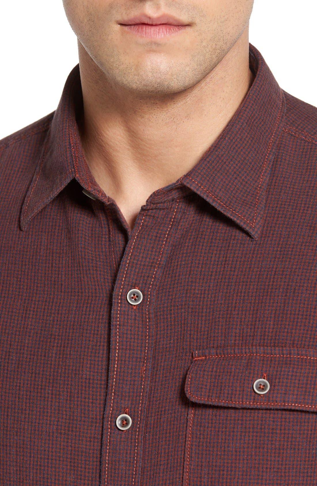 'Havana Squared' Regular Fit Microcheck Sport Shirt,                             Alternate thumbnail 4, color,                             200