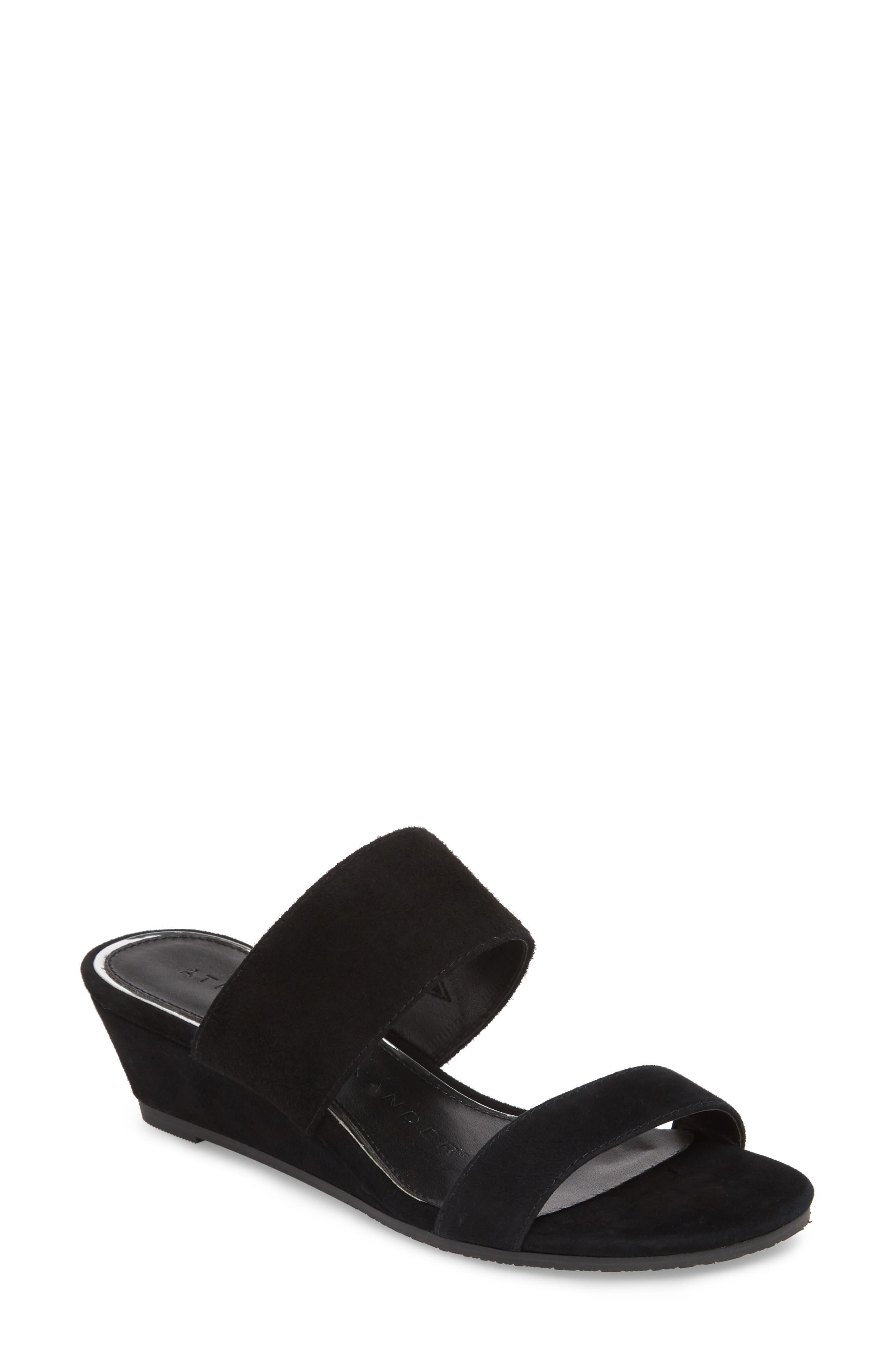 Burlington Wedge Slide Sandal,                             Main thumbnail 1, color,                             BLACK SUEDE