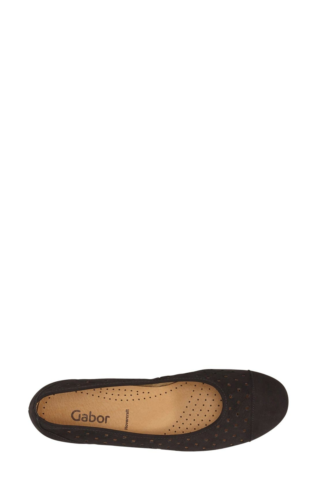 Perforated Ballet Flat,                             Alternate thumbnail 3, color,                             BLACK NUBUCK