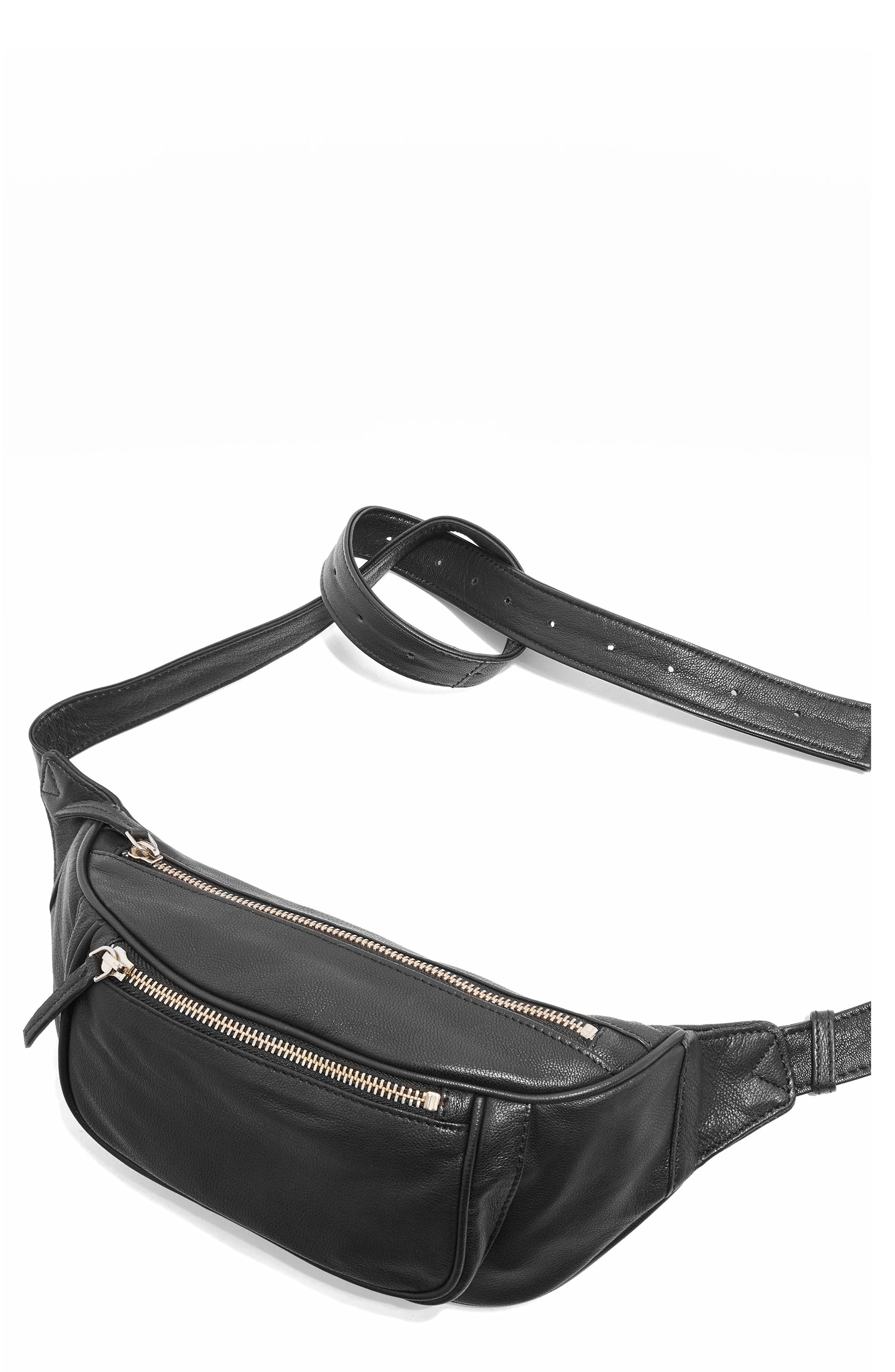 Leather Bumbag,                         Main,                         color, 001