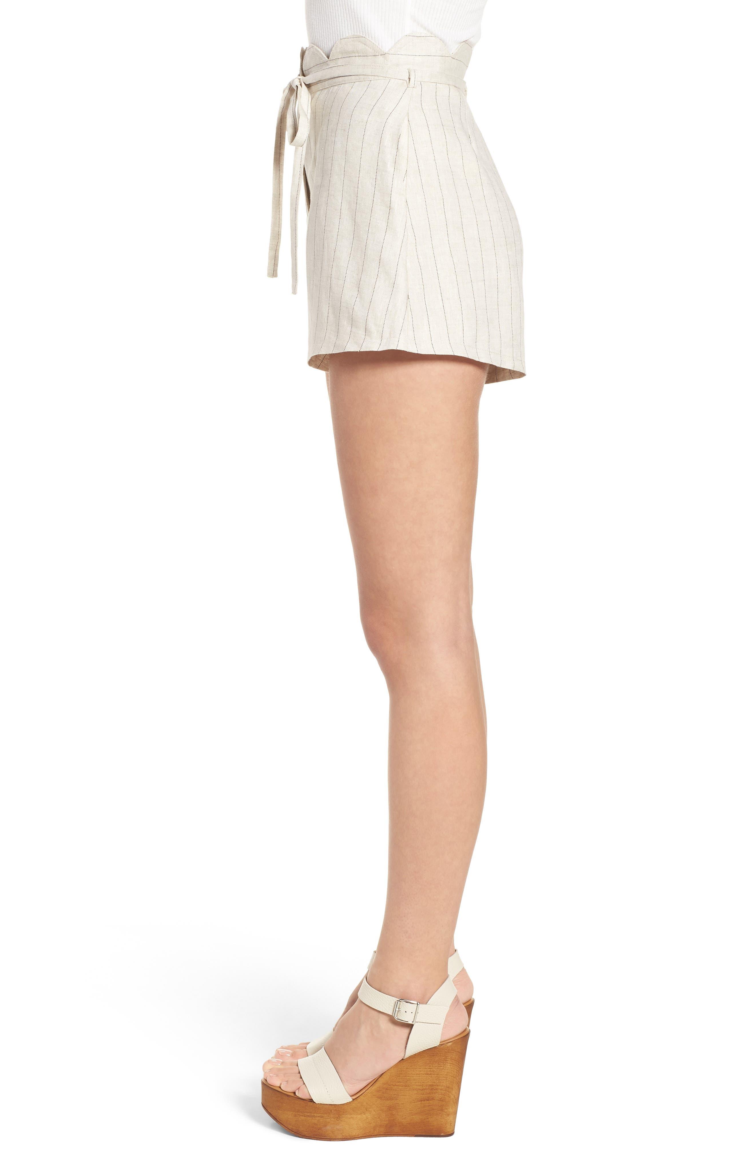 Scallop Waist Linen Shorts,                             Alternate thumbnail 3, color,