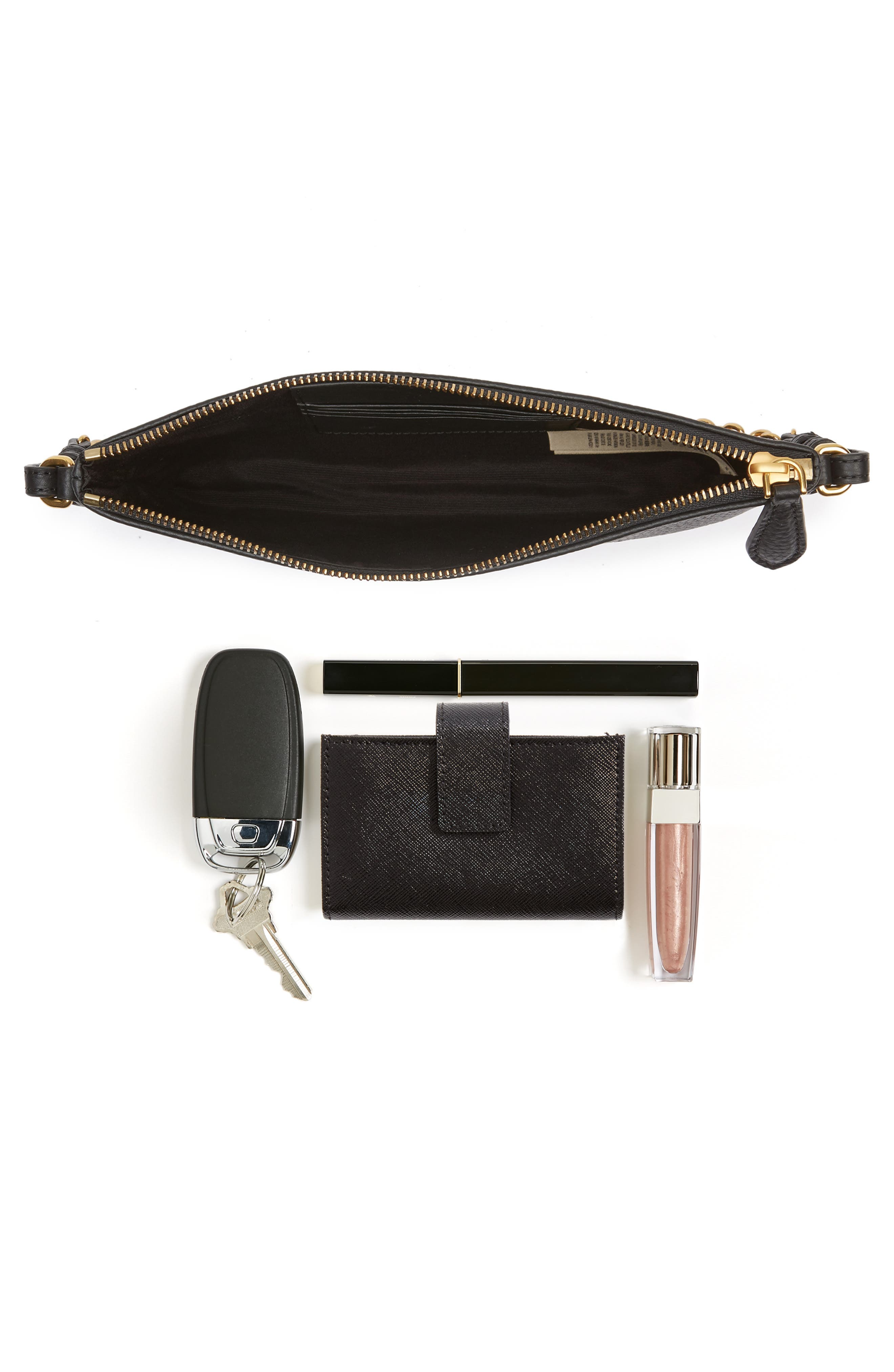 Peyton Leather Crossbody Bag,                             Alternate thumbnail 7, color,                             BLACK
