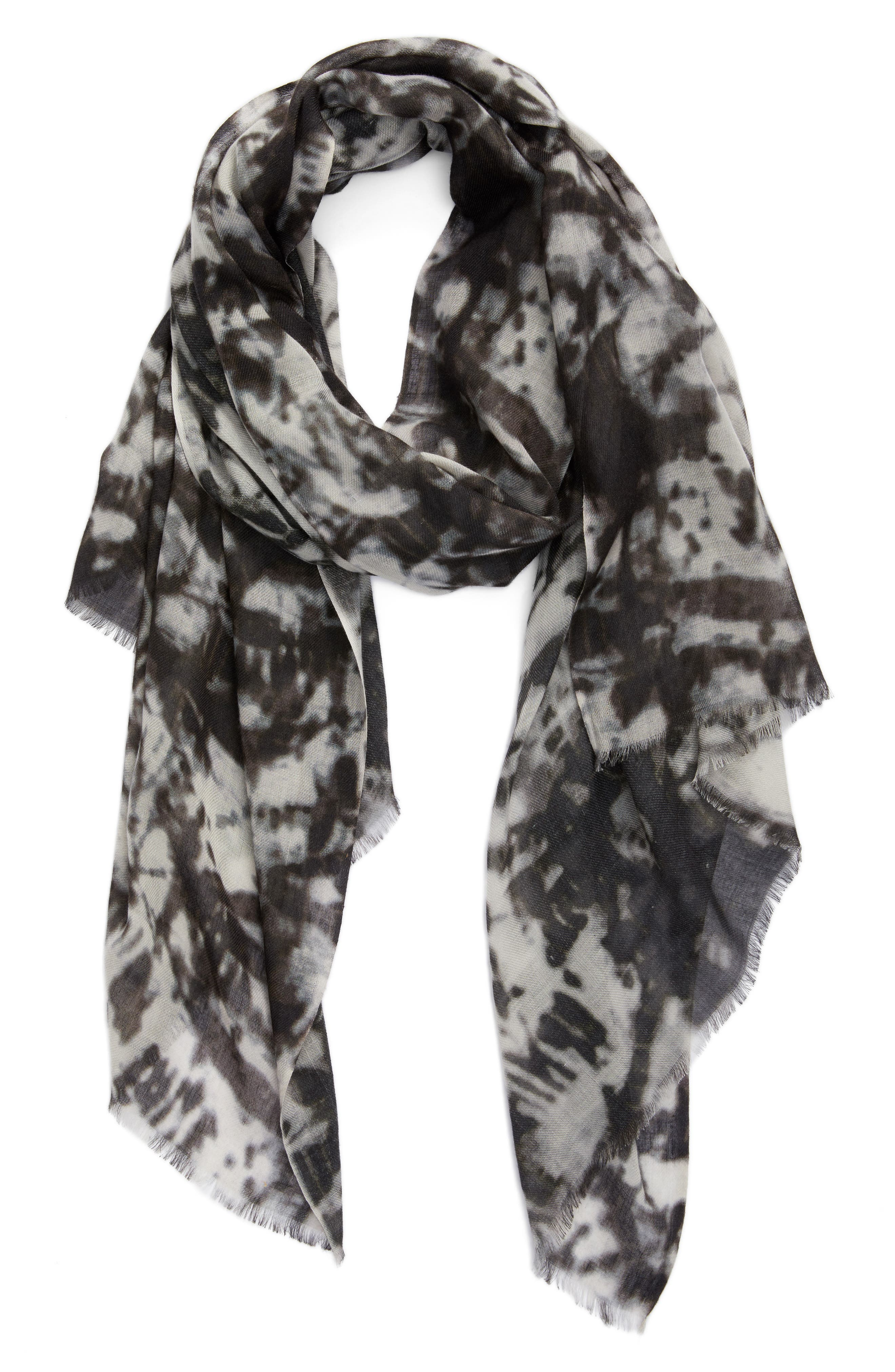 Print Silk & Wool Scarf,                             Alternate thumbnail 2, color,                             001