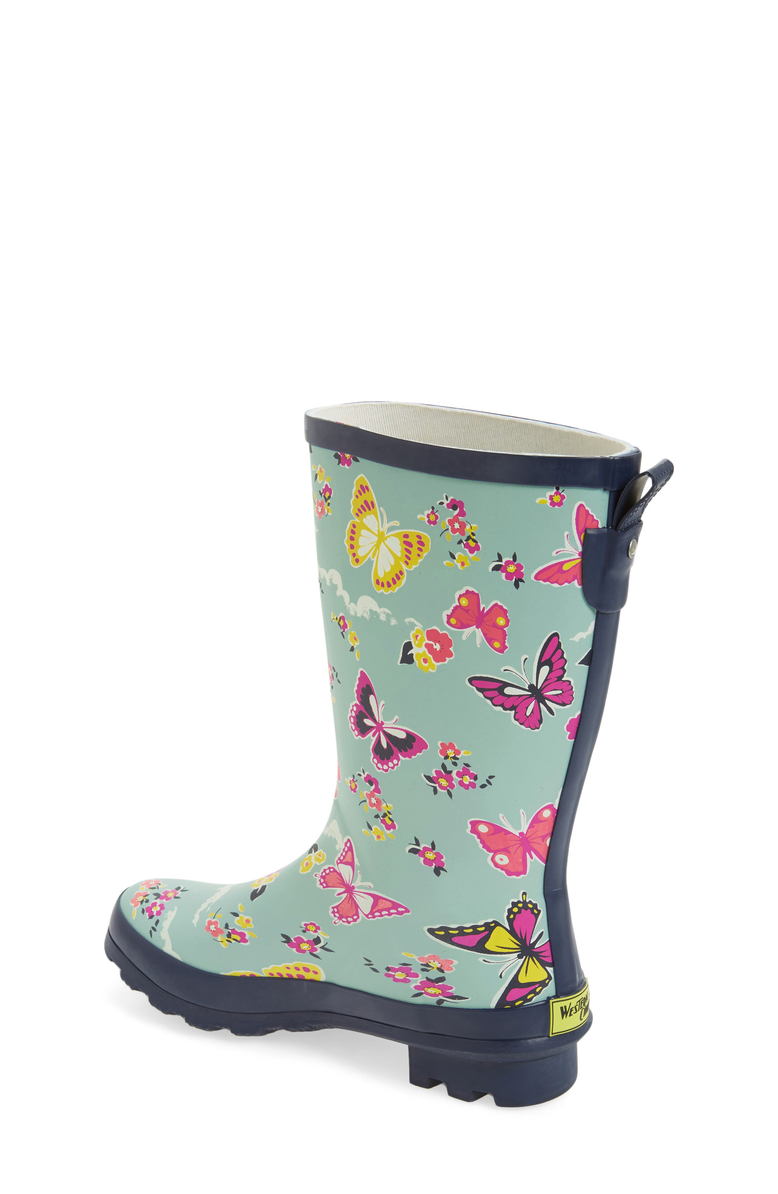 Classic Butterfly Floral Rain Boot,                             Alternate thumbnail 2, color,                             450