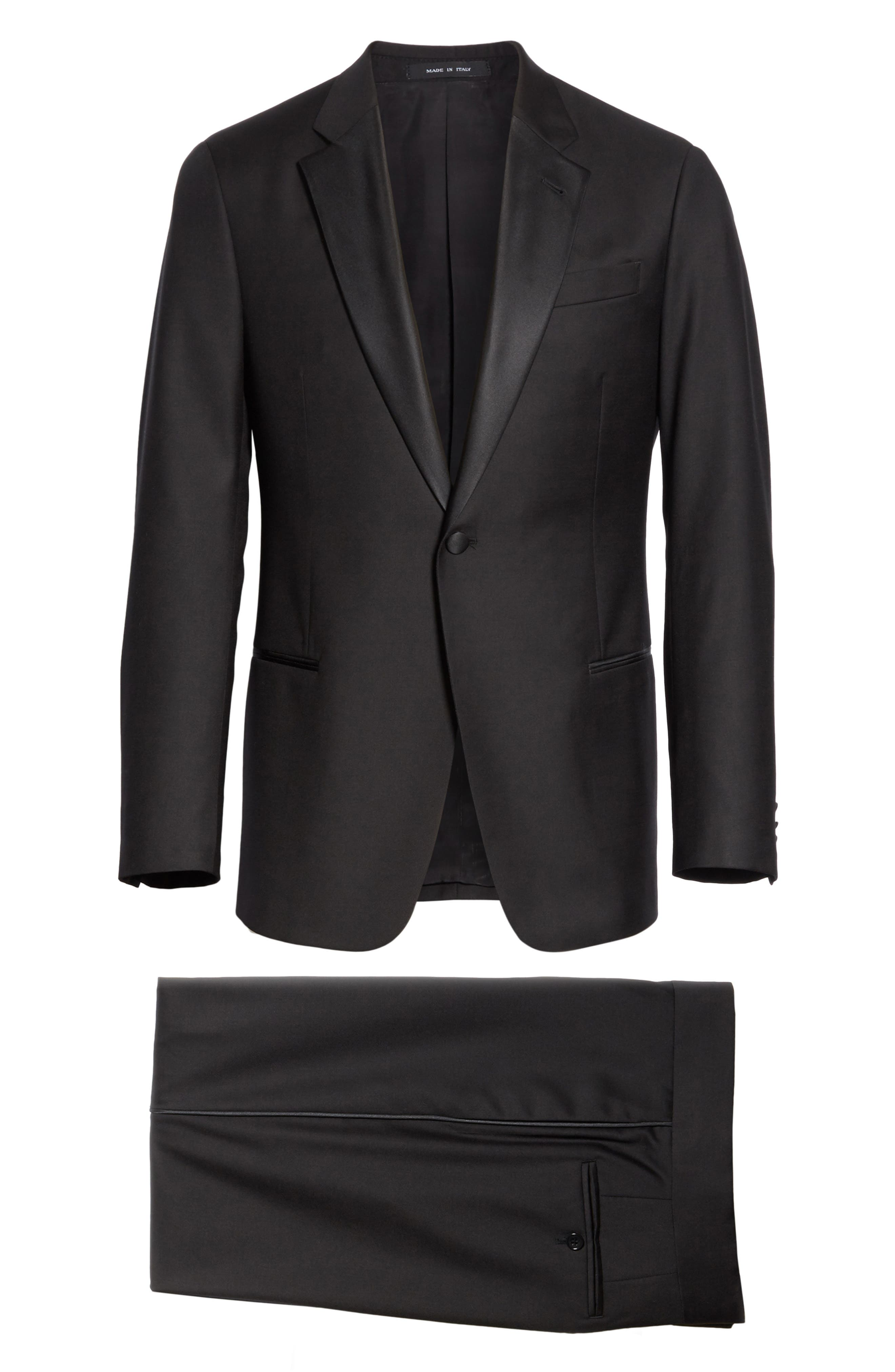 Trim Fit Wool Tuxedo,                             Alternate thumbnail 8, color,                             BLACK