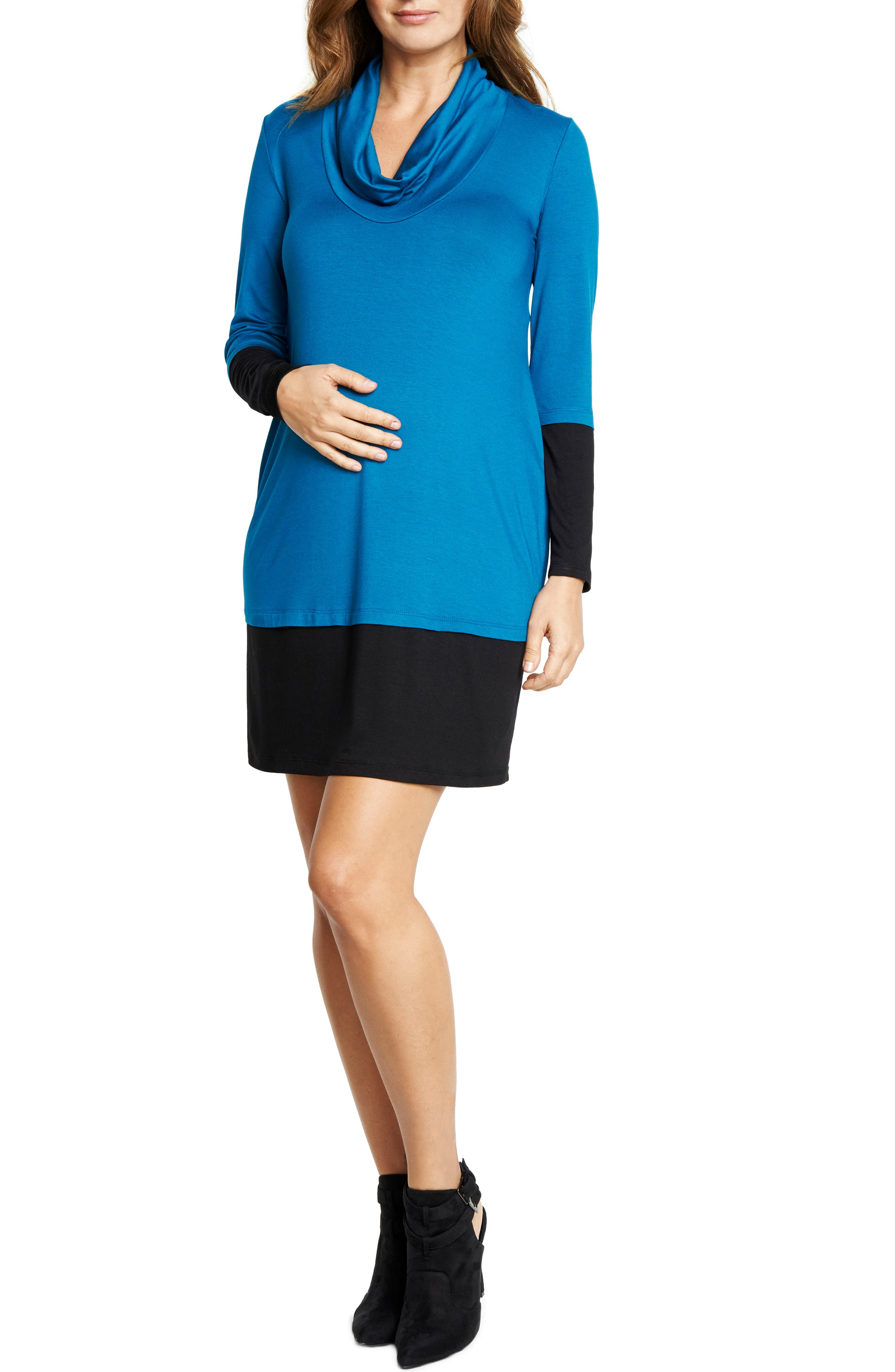 Cowl Neck Maternity Dress,                         Main,                         color, TEAL/ BLACK