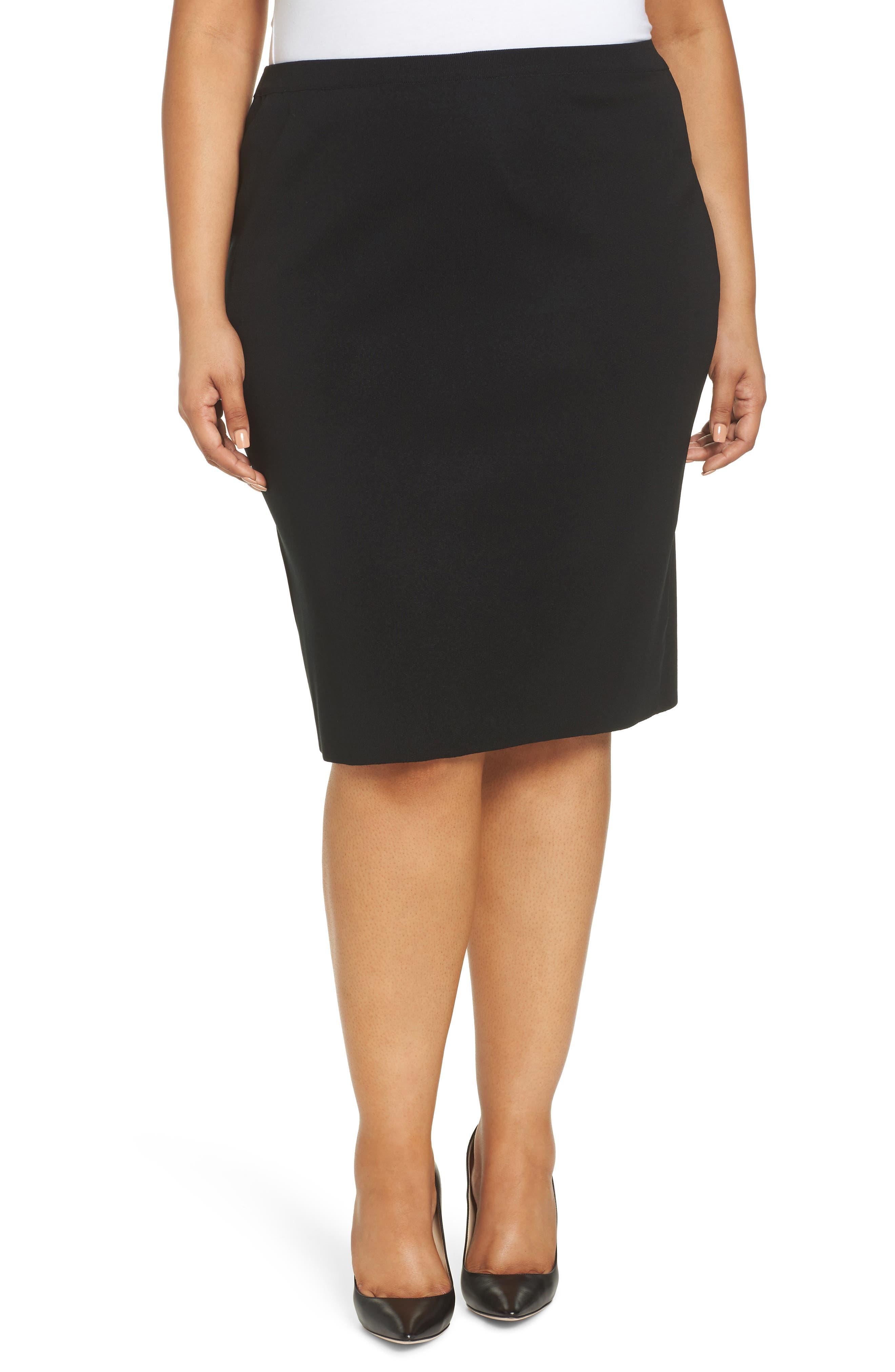 Plus Size Ming Wang Straight Skirt, Black