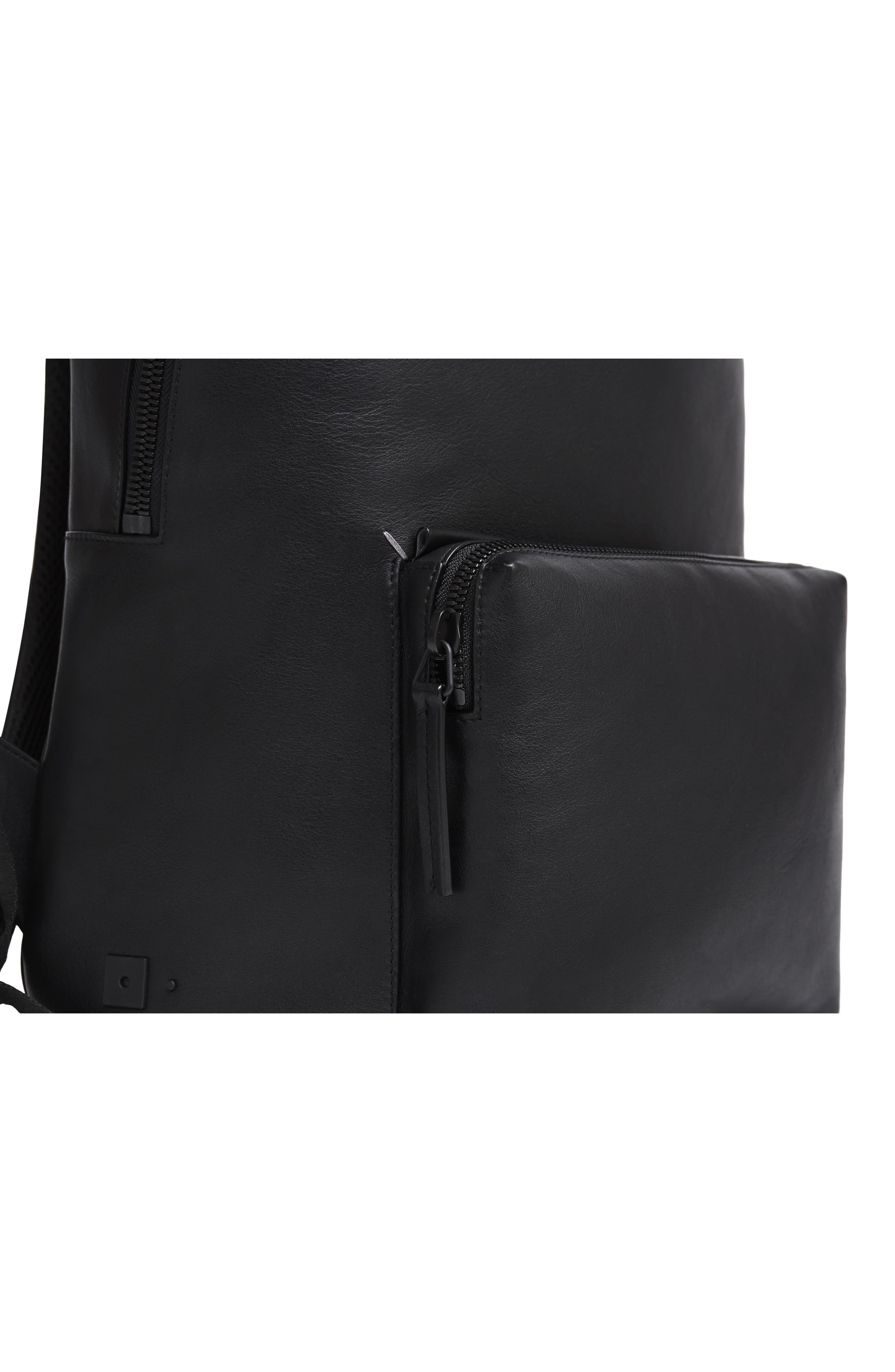 Leather Backpack,                             Alternate thumbnail 7, color,                             BLACK LEATHER