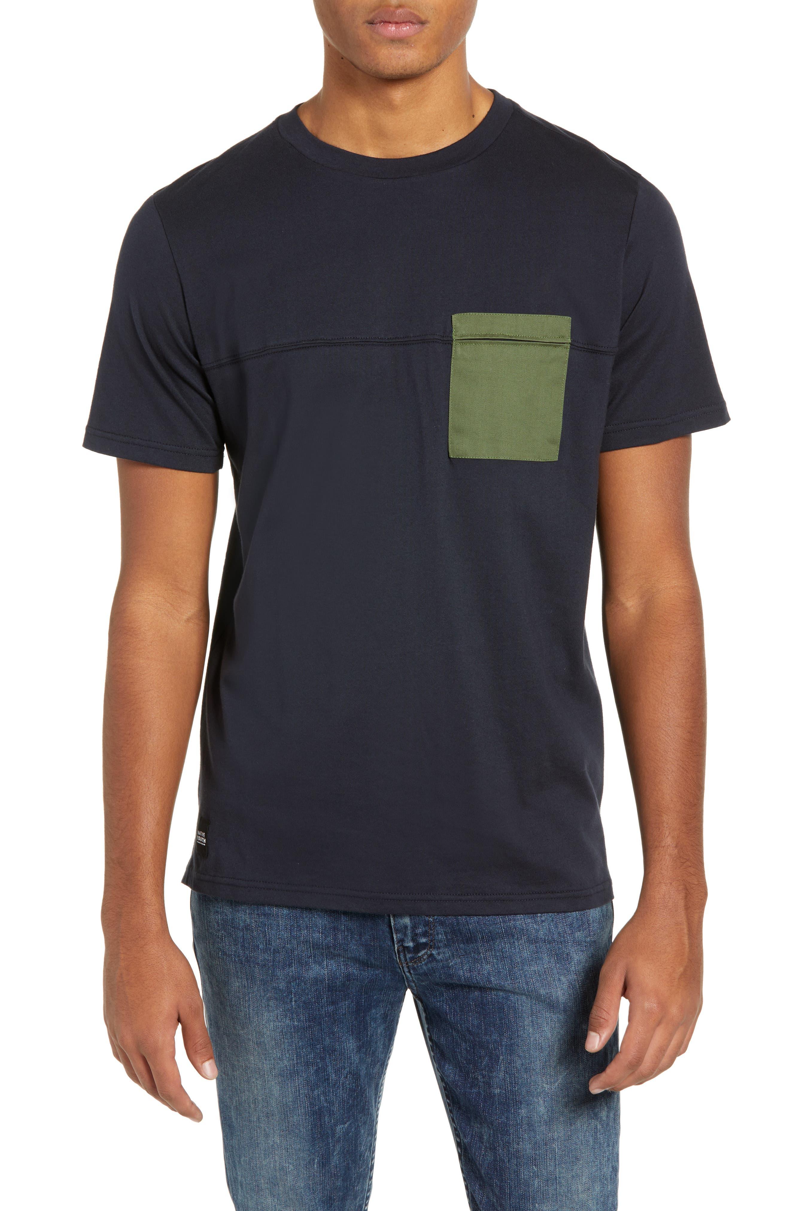 Seamed Pocket T-Shirt,                         Main,                         color, NAVY