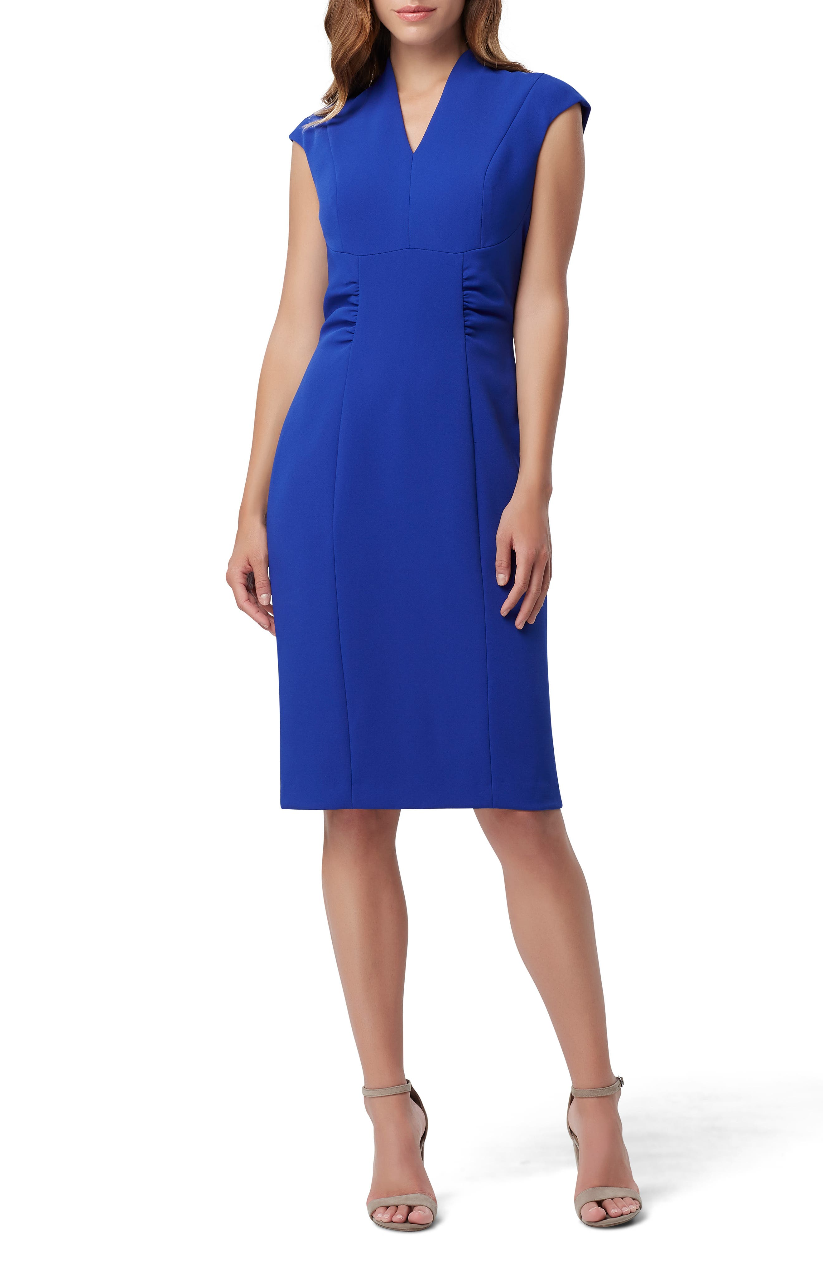 TAHARI Crepe Sheath Dress, Main, color, SPRING ROYAL