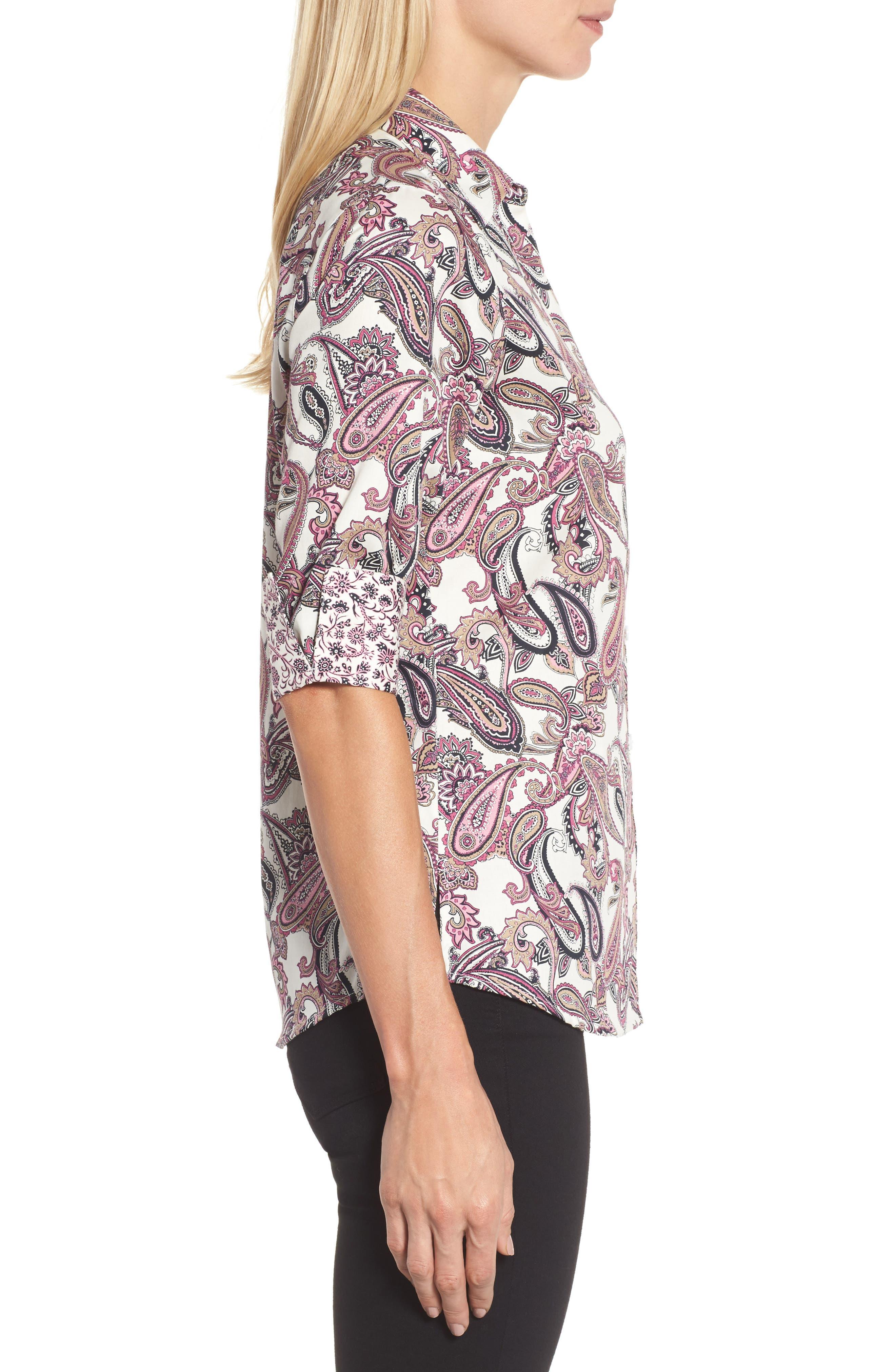 Mary Paisley Wrinkle Free Shirt,                             Alternate thumbnail 3, color,                             935
