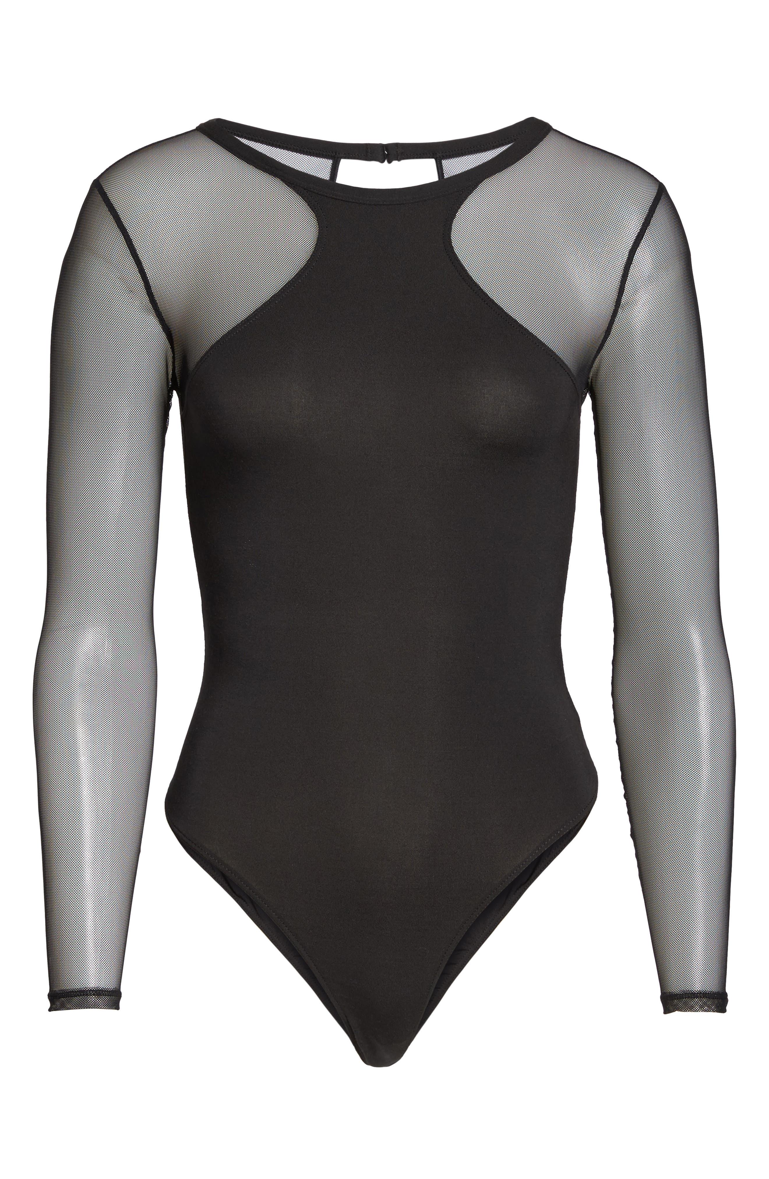 Kirsten Mesh Bodysuit,                             Alternate thumbnail 6, color,                             002