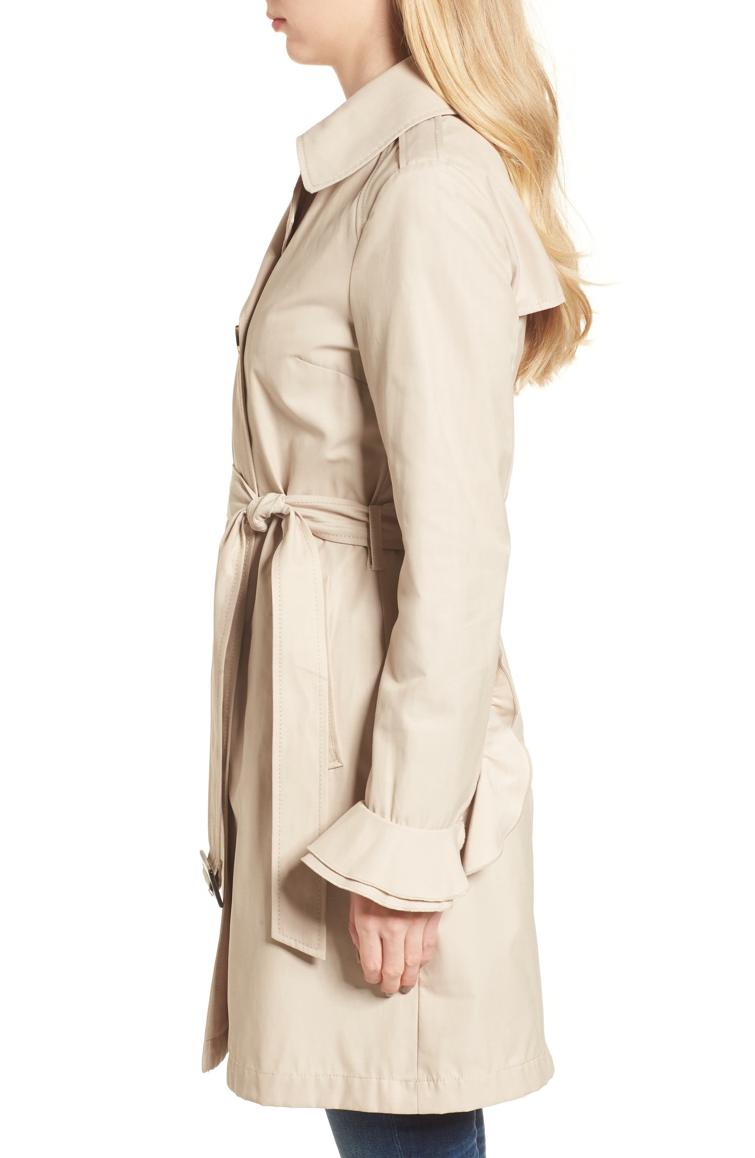Stella Ruffle Sleeve Trench Coat,                             Alternate thumbnail 3, color,                             250
