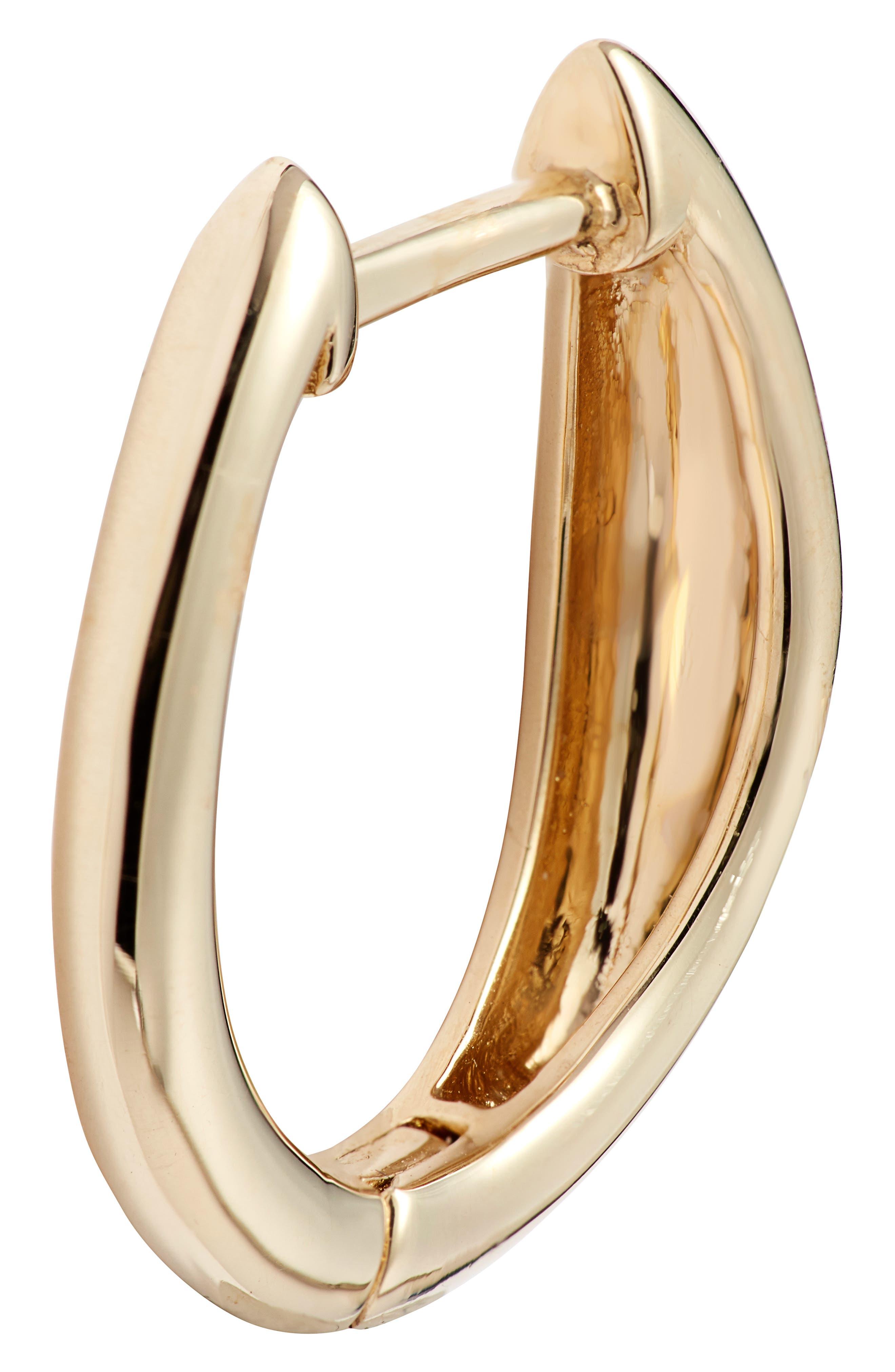 BONY LEVY,                             14K Gold Hoop Earrings,                             Alternate thumbnail 3, color,                             YELLOW GOLD/ DIA