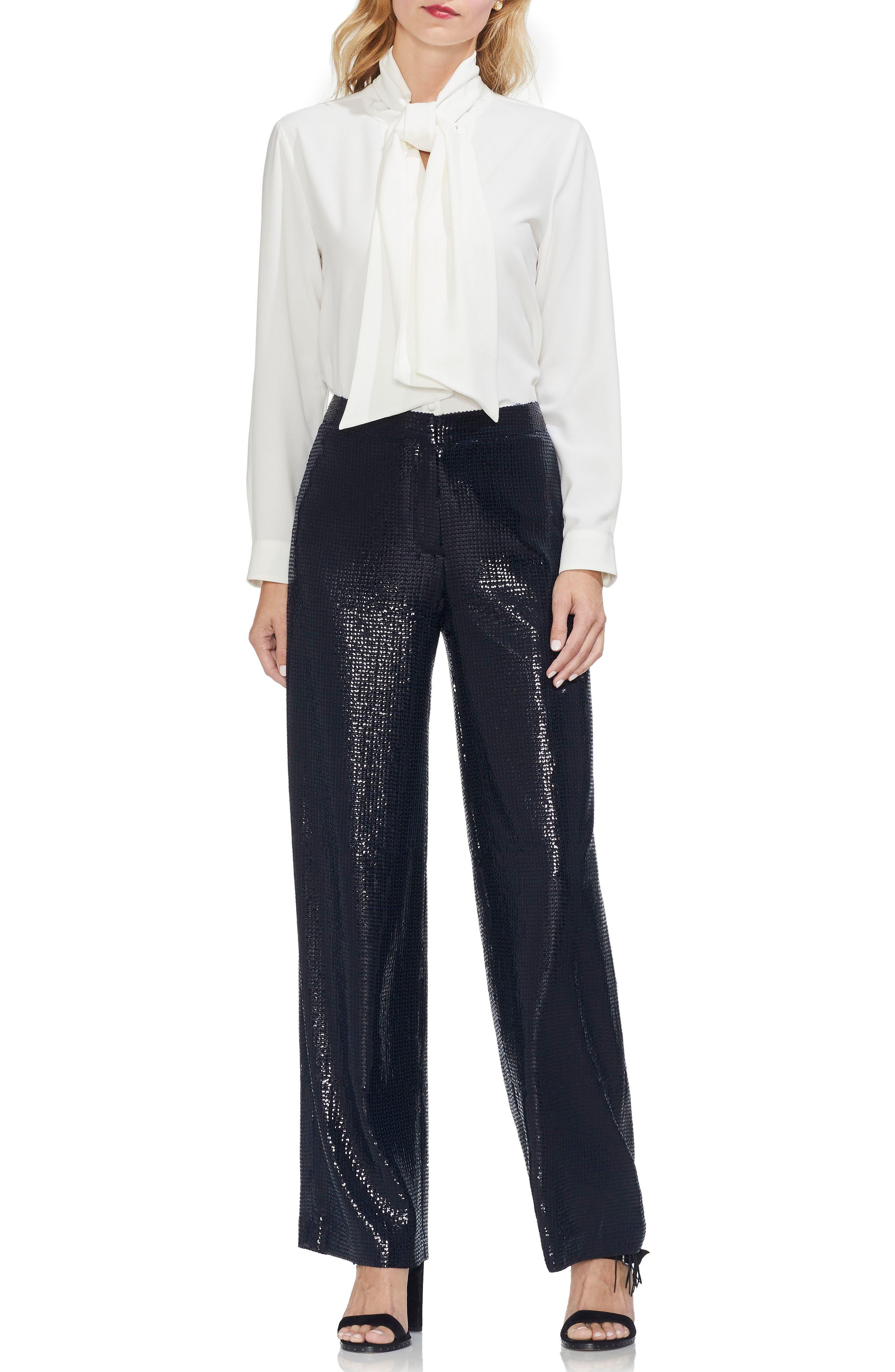 Allover Sequin Wide Leg Pants,                             Alternate thumbnail 3, color,                             CLASSIC NAVY