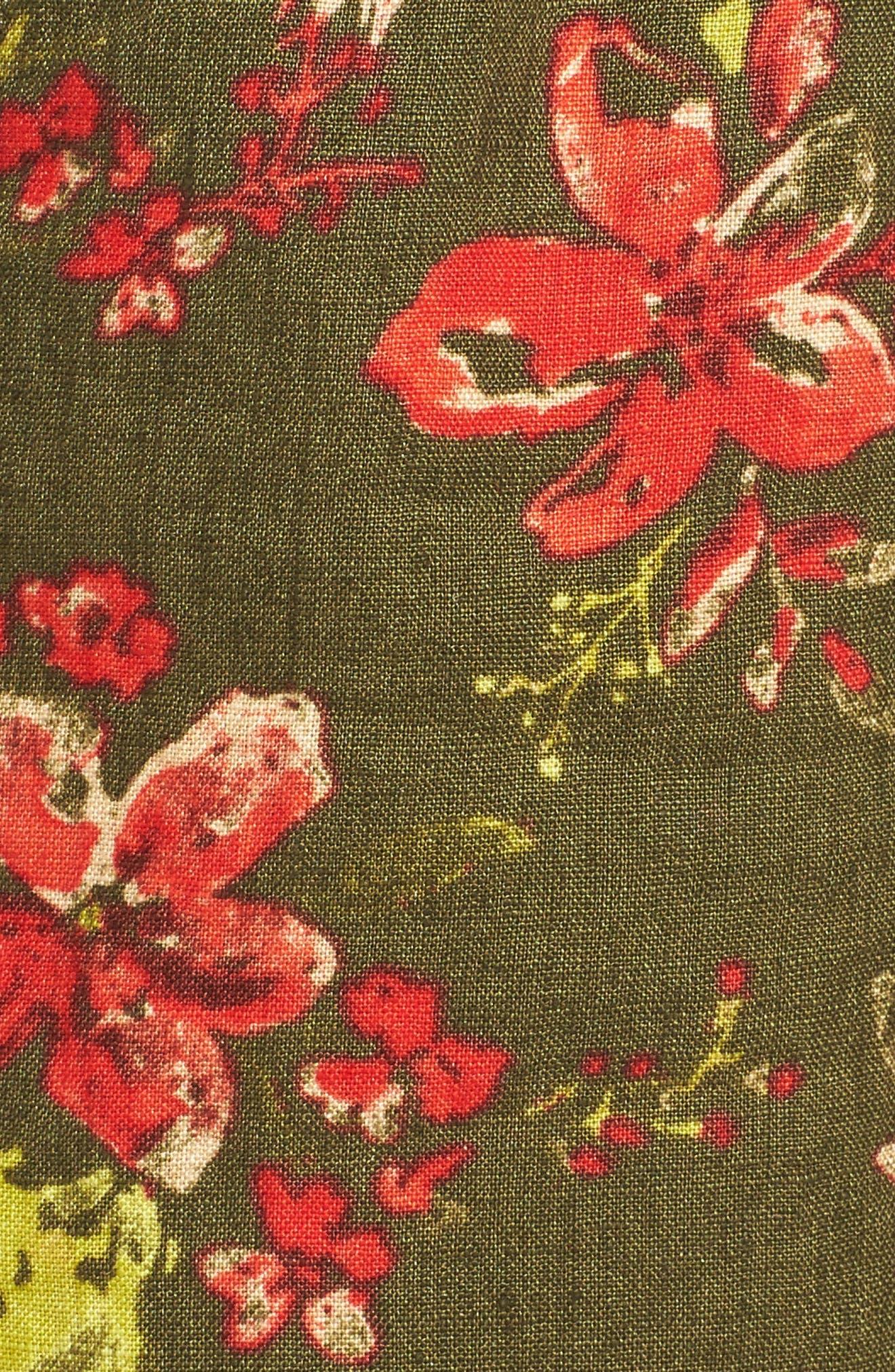 Zaria Print Linen Shorts,                             Alternate thumbnail 5, color,                             317