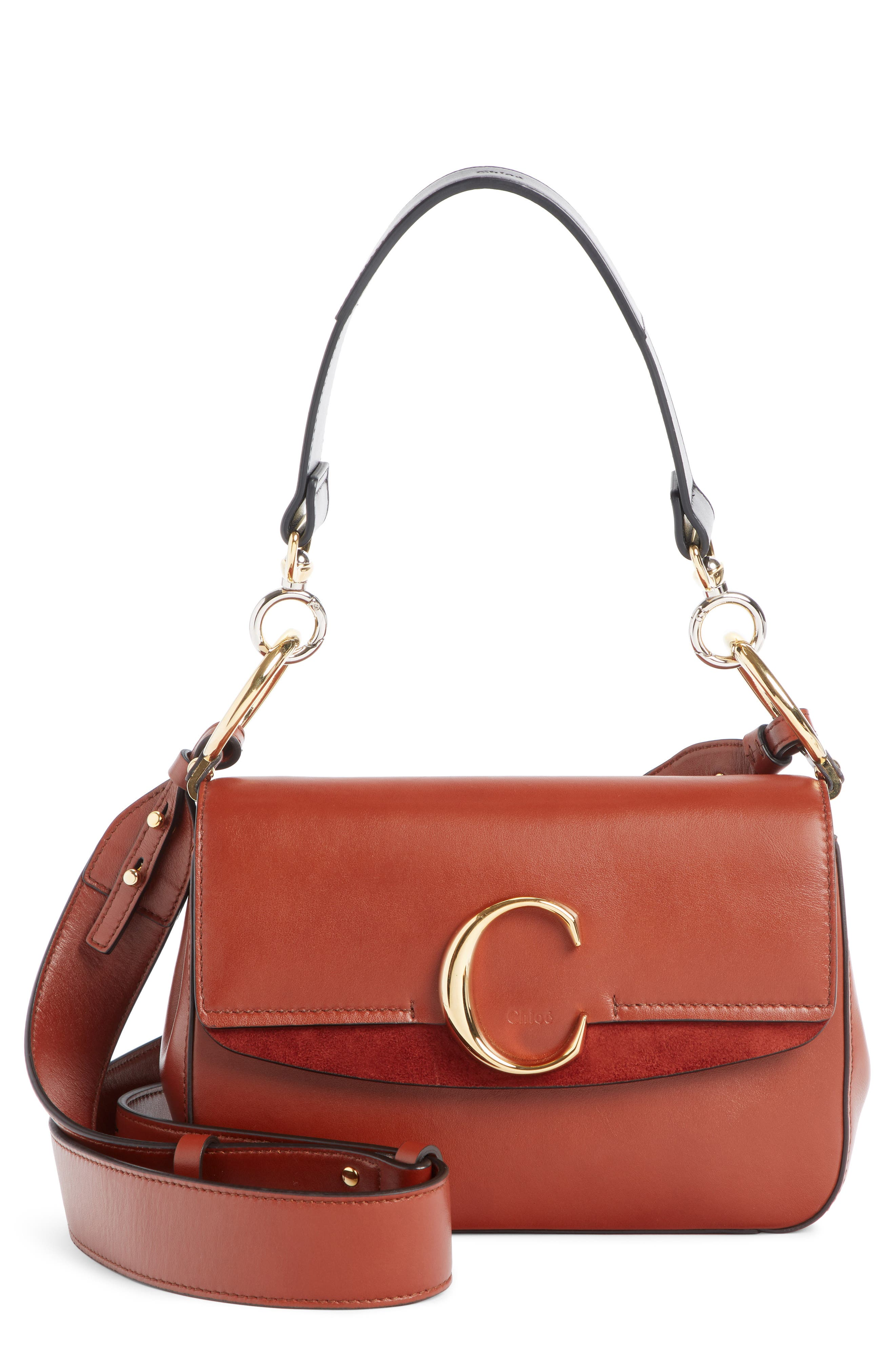 Leather Shoulder Bag,                             Main thumbnail 1, color,                             SEPIA BROWN
