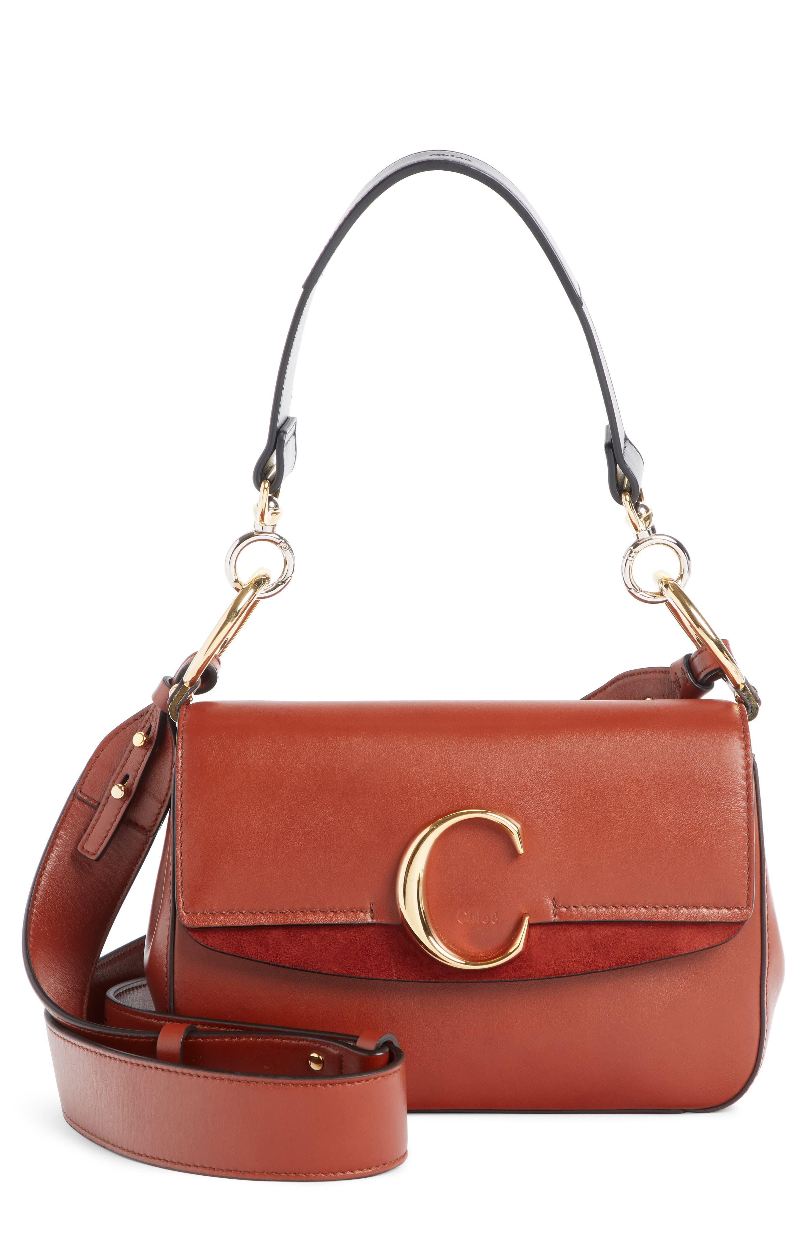 Leather Shoulder Bag,                         Main,                         color, SEPIA BROWN