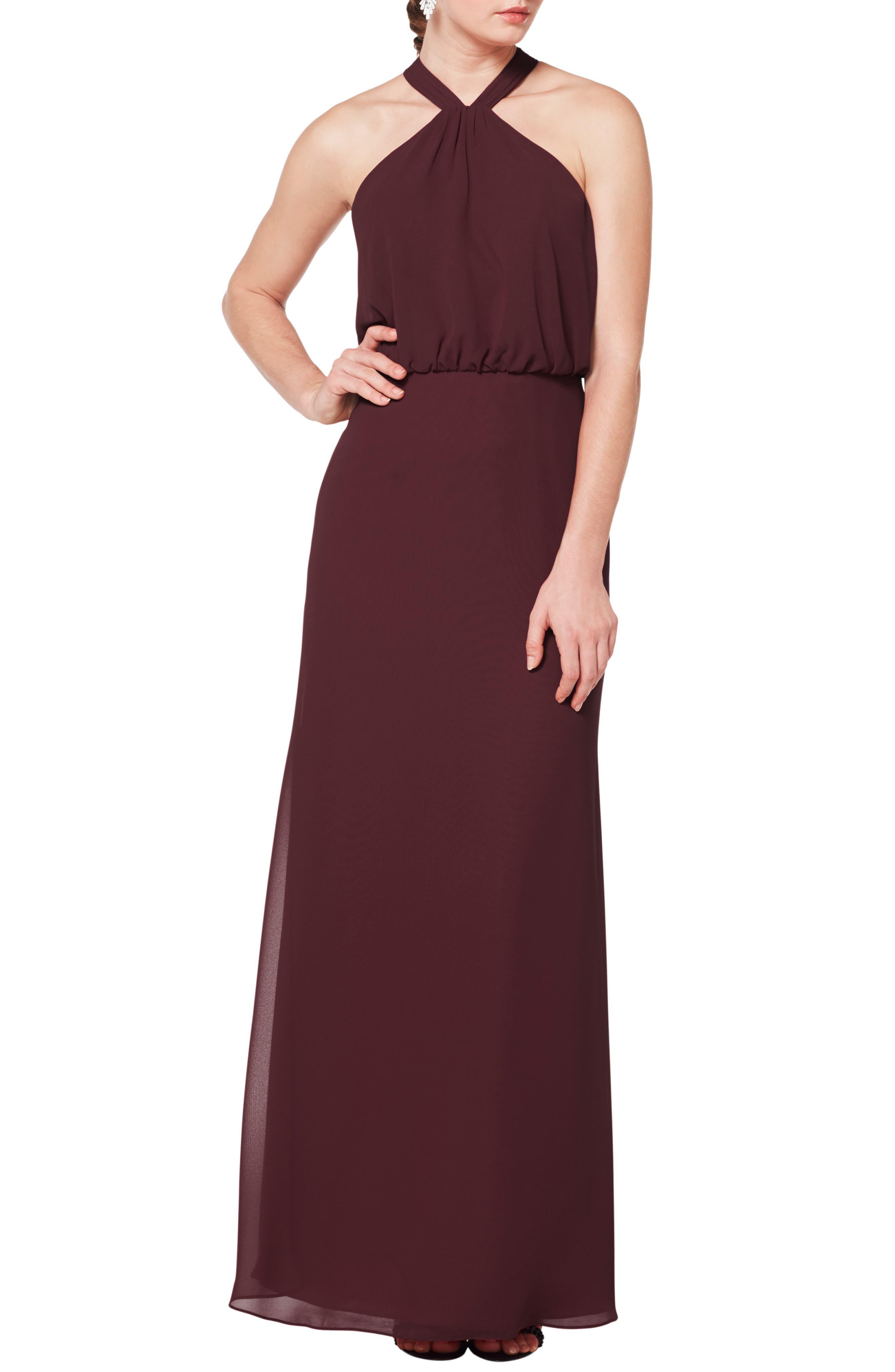 #levkoff Halter Neck Blouson Bodice Evening Dress, Burgundy