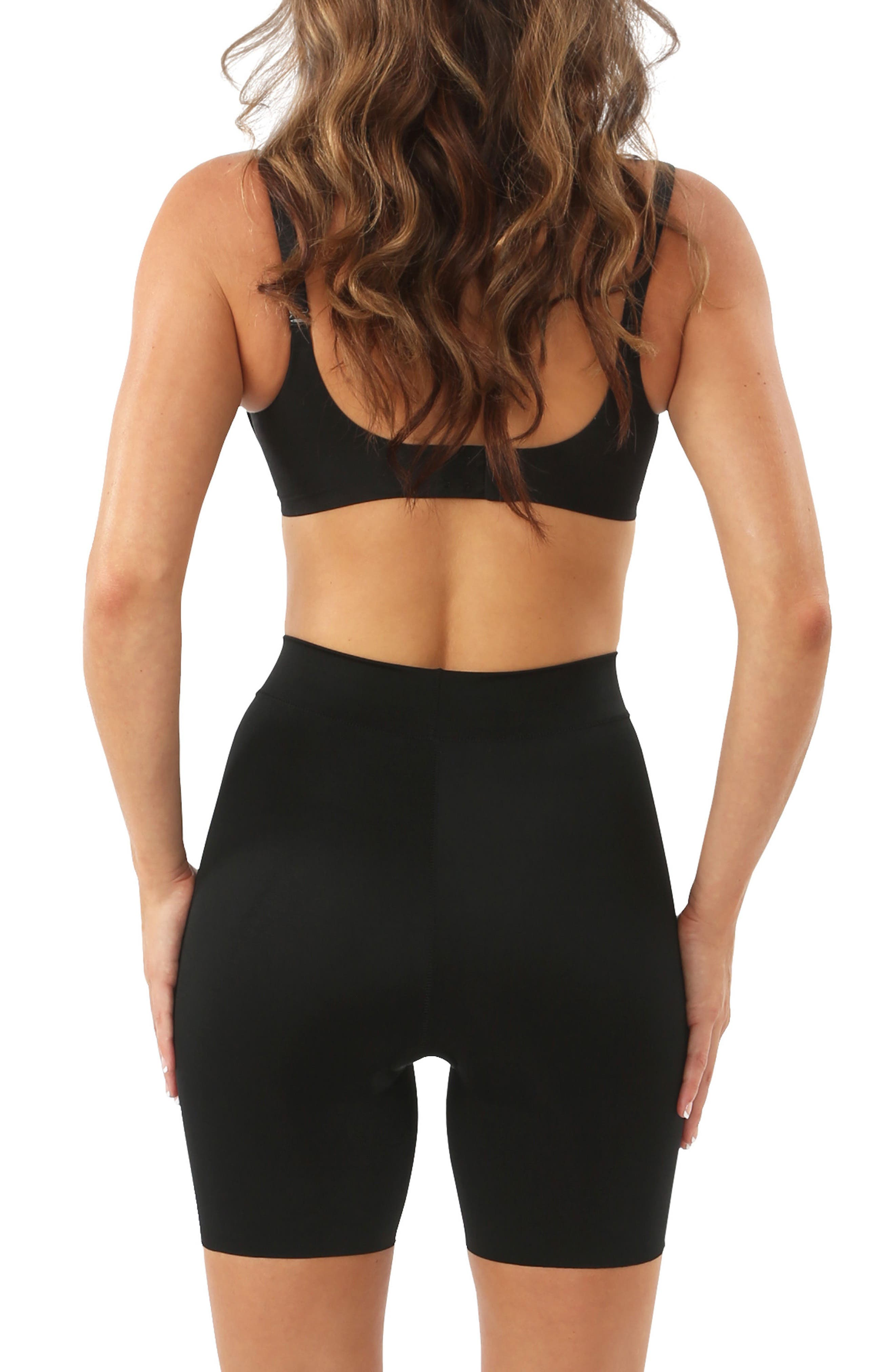 'Mother Tucker - Shortie' High Waist Compression Shorts,                             Alternate thumbnail 2, color,                             BLACK