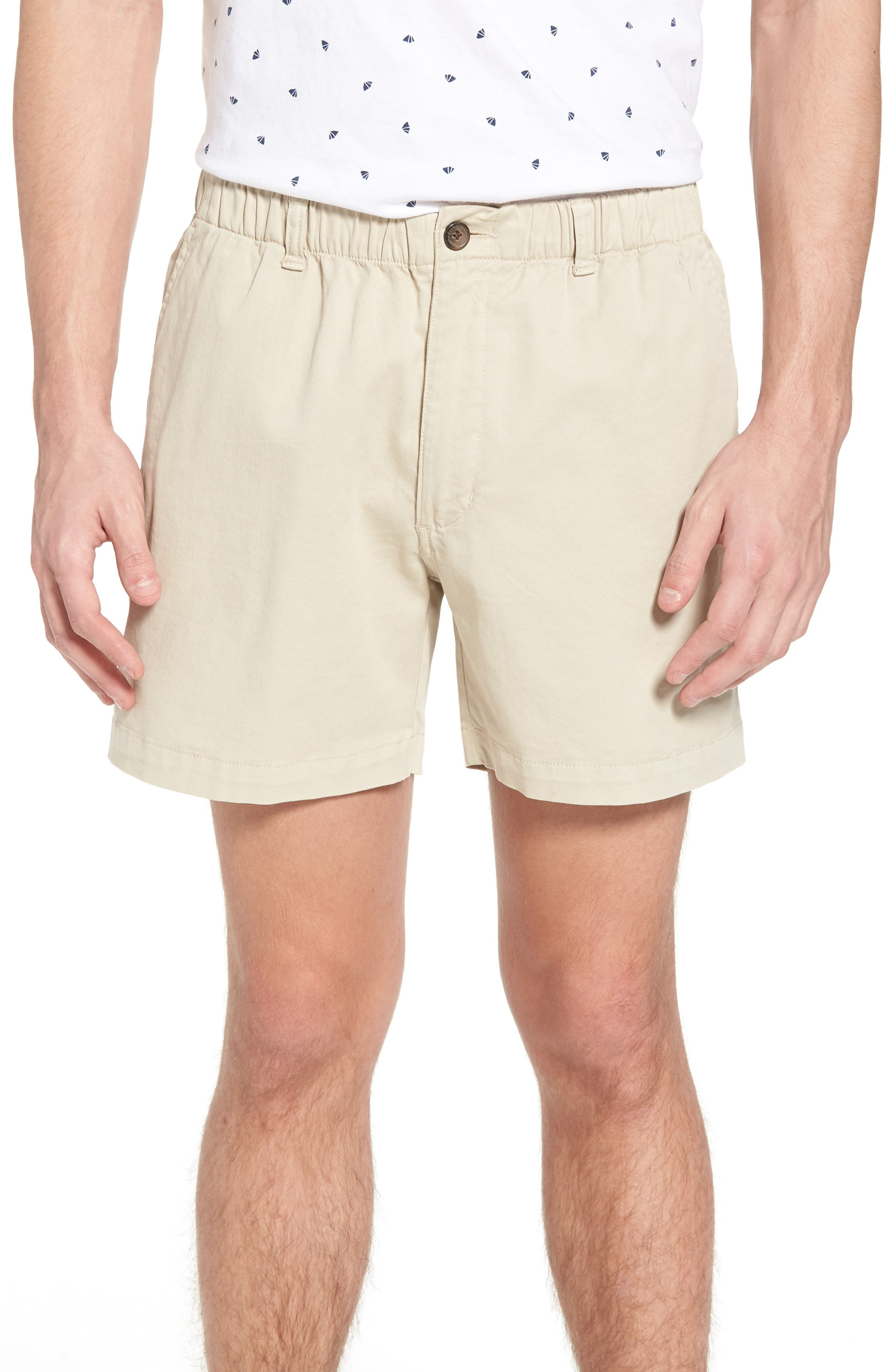 Snappers Elastic Waist 5.5 Inch Stretch Shorts,                             Main thumbnail 1, color,                             STONE