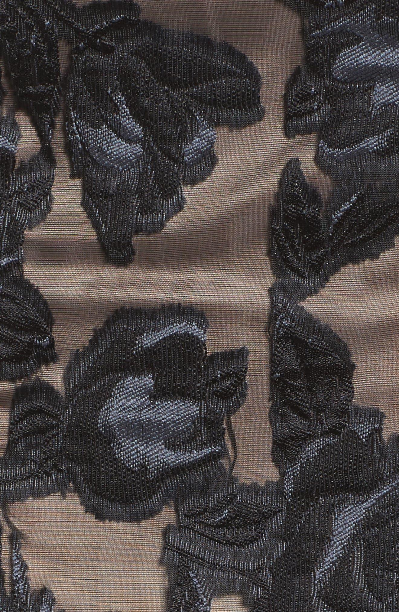 Burnout Fit & Flare Dress,                             Alternate thumbnail 5, color,                             001