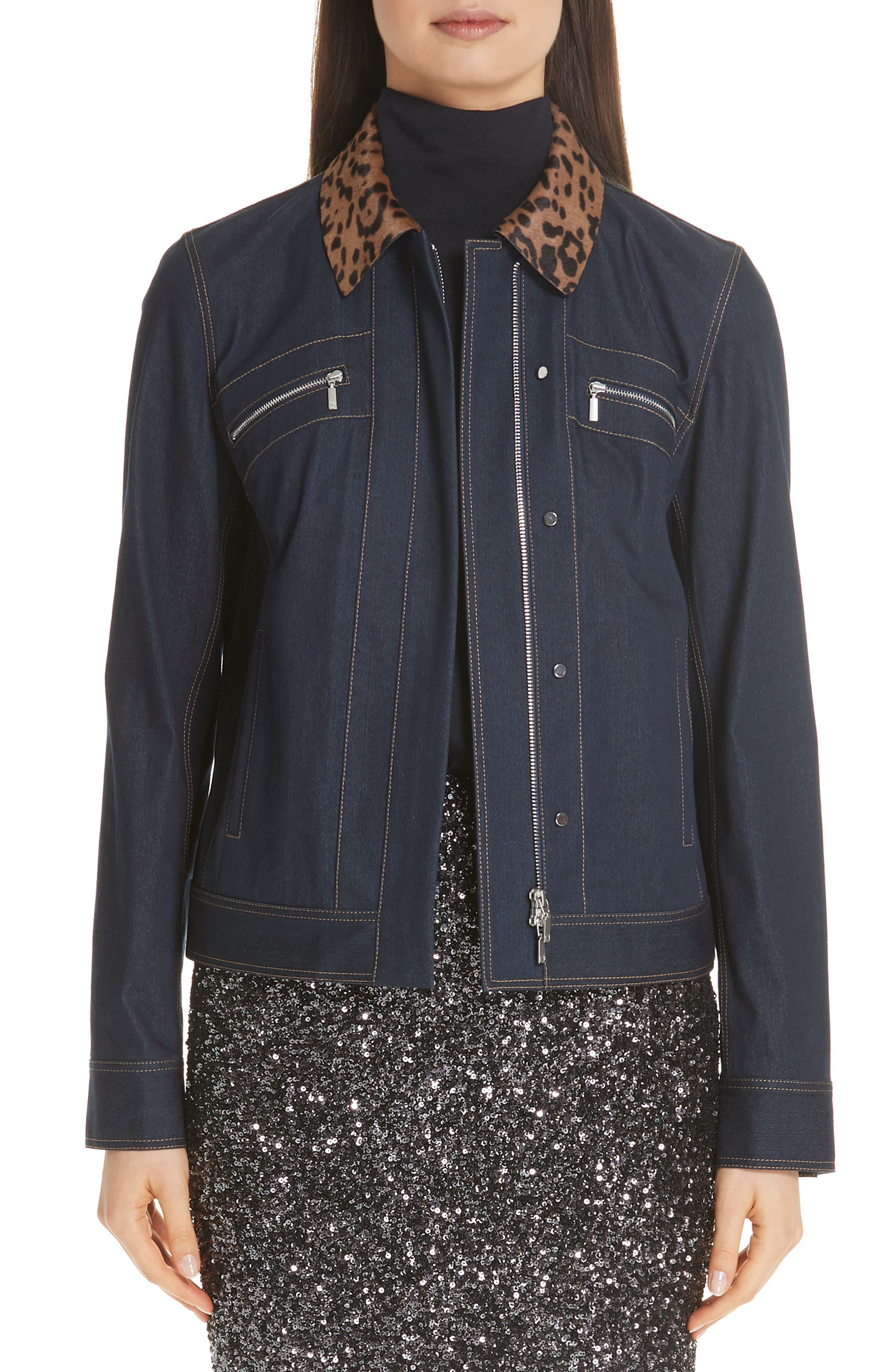 Kesha Primo Denim Jacket with Print Genuine Calf Hair Collar,                             Main thumbnail 1, color,                             400
